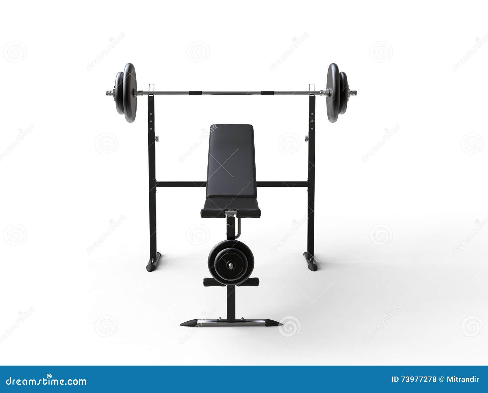 Banc de gymnase de pente avec le poids de barbell et les plats supplémentaires de poids - vue de face