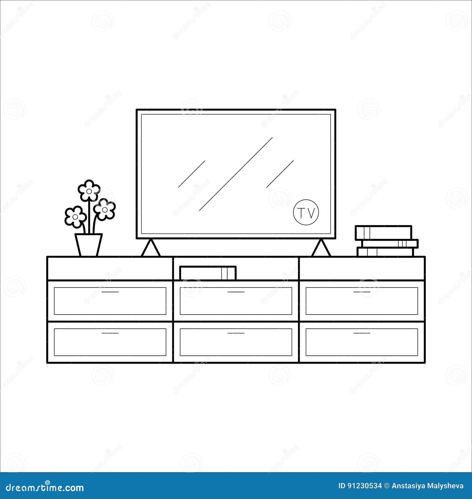 Banc De Tv Dans La Ligne Mince Illustration De Vecteur