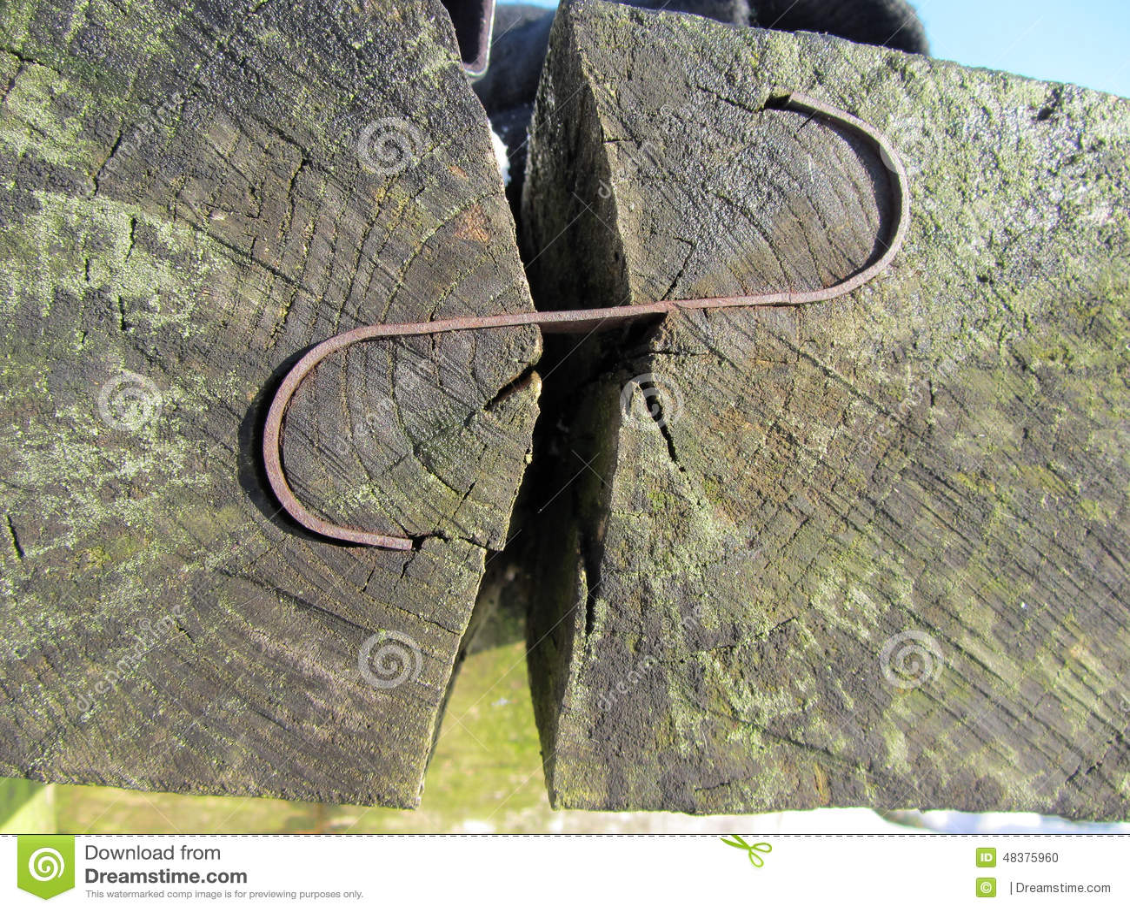 Le banc fait de rondins en bois a attaché ainsi que des crampes de  ~ Banc En Rondin De Bois