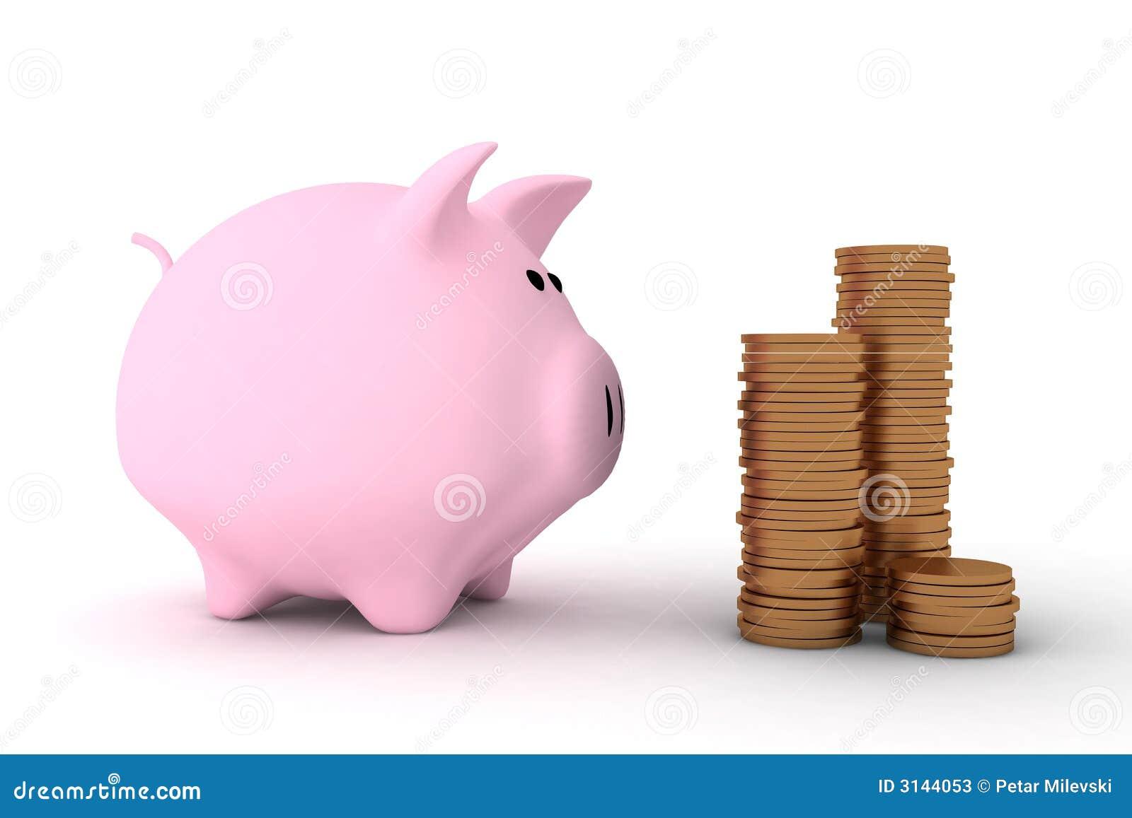 Banca piggy dentellare ed alcune monete