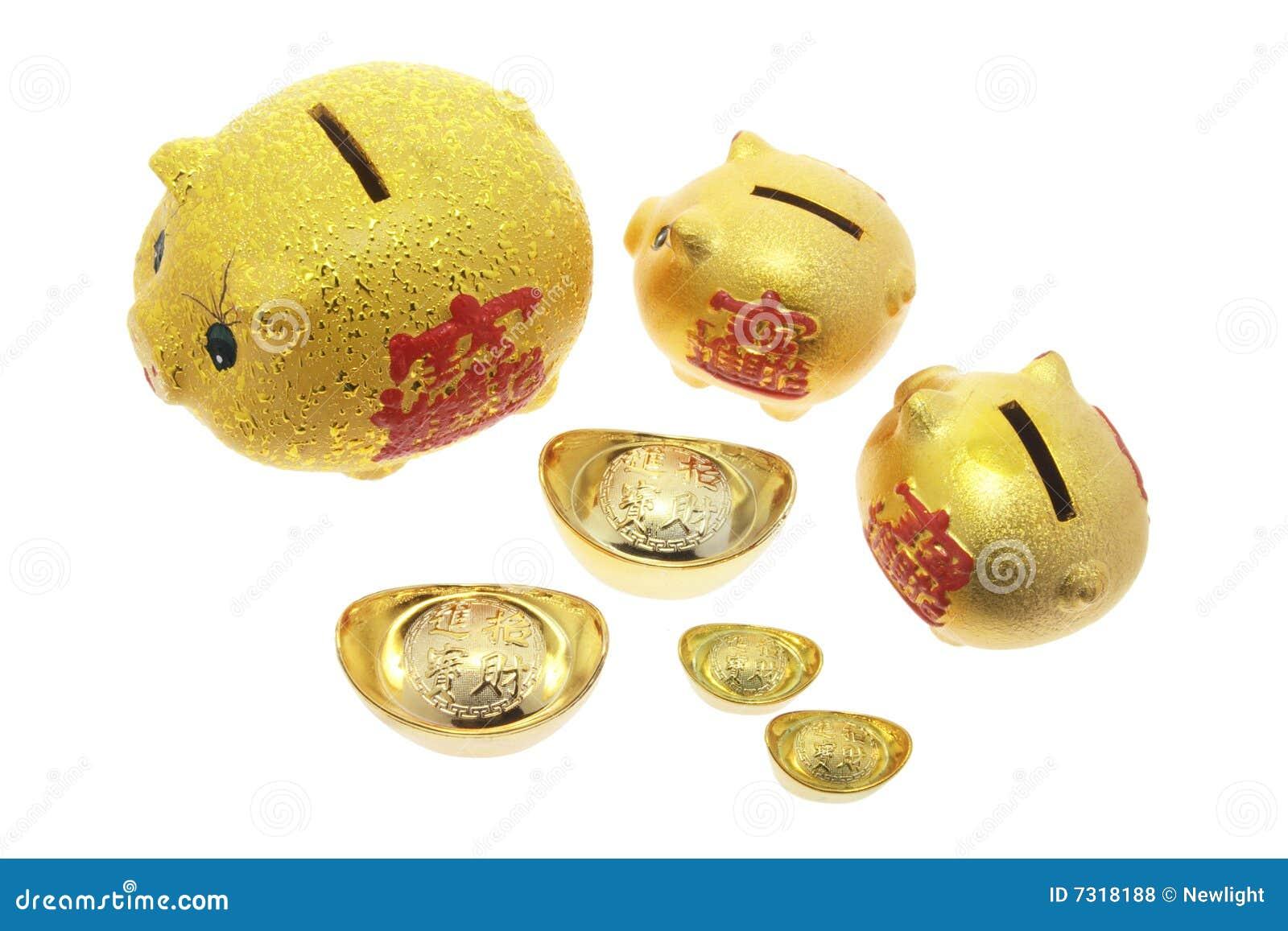 Banche Piggy e lingotti dell oro