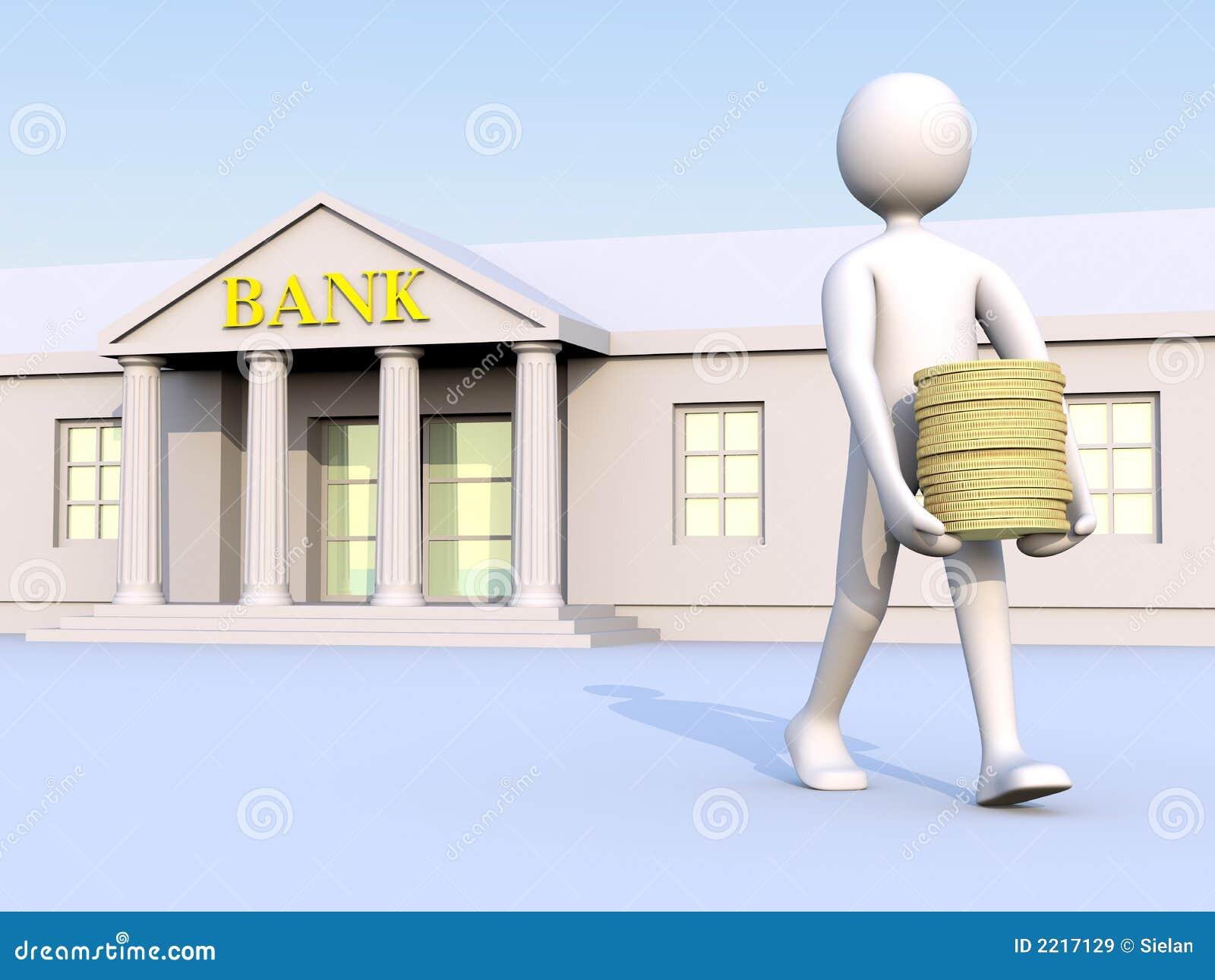 Banco & homem & dinheiro 1
