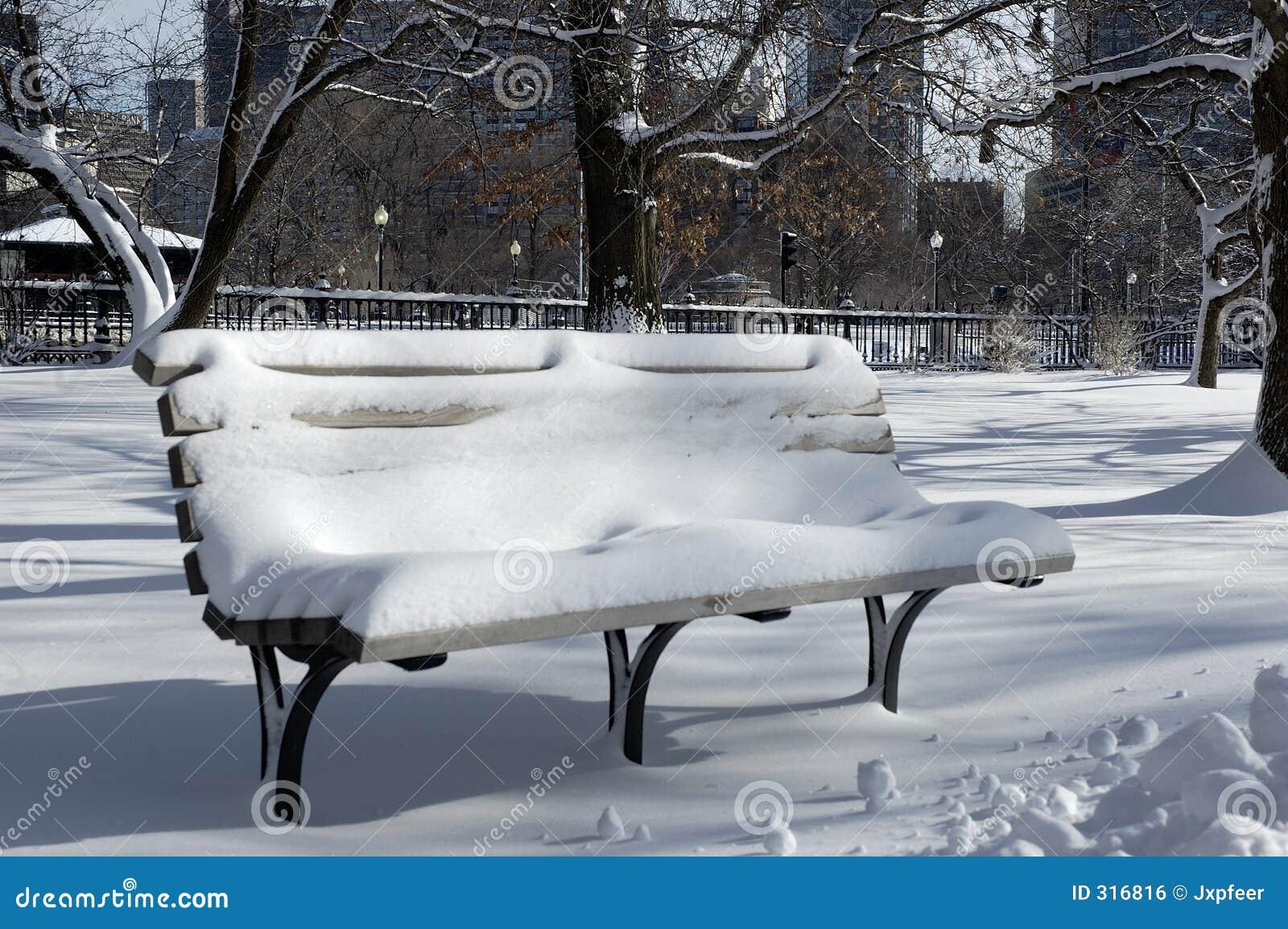 Banco coberto na neve