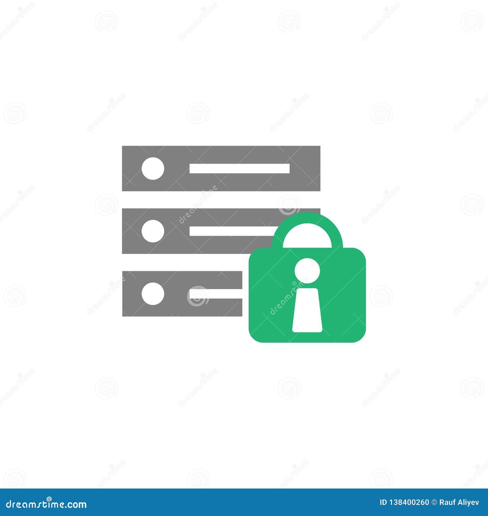 Banco de dados, ícone do fechamento Elemento do ícone do Cyber e da segurança para apps móveis do conceito e da Web O banco de da