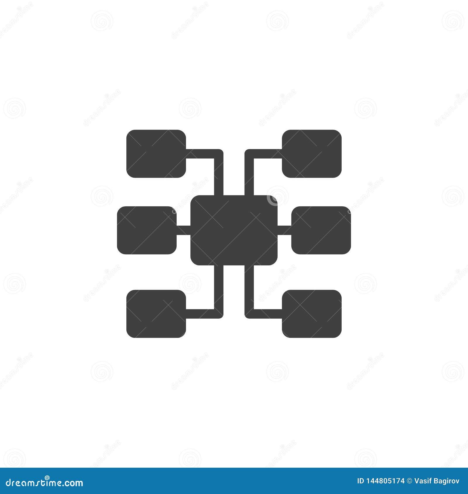 Banco de dados, servidor, ícone do vetor do sitemap Elemento dos dados para a ilustra??o m?vel dos apps do conceito e da Web Linh