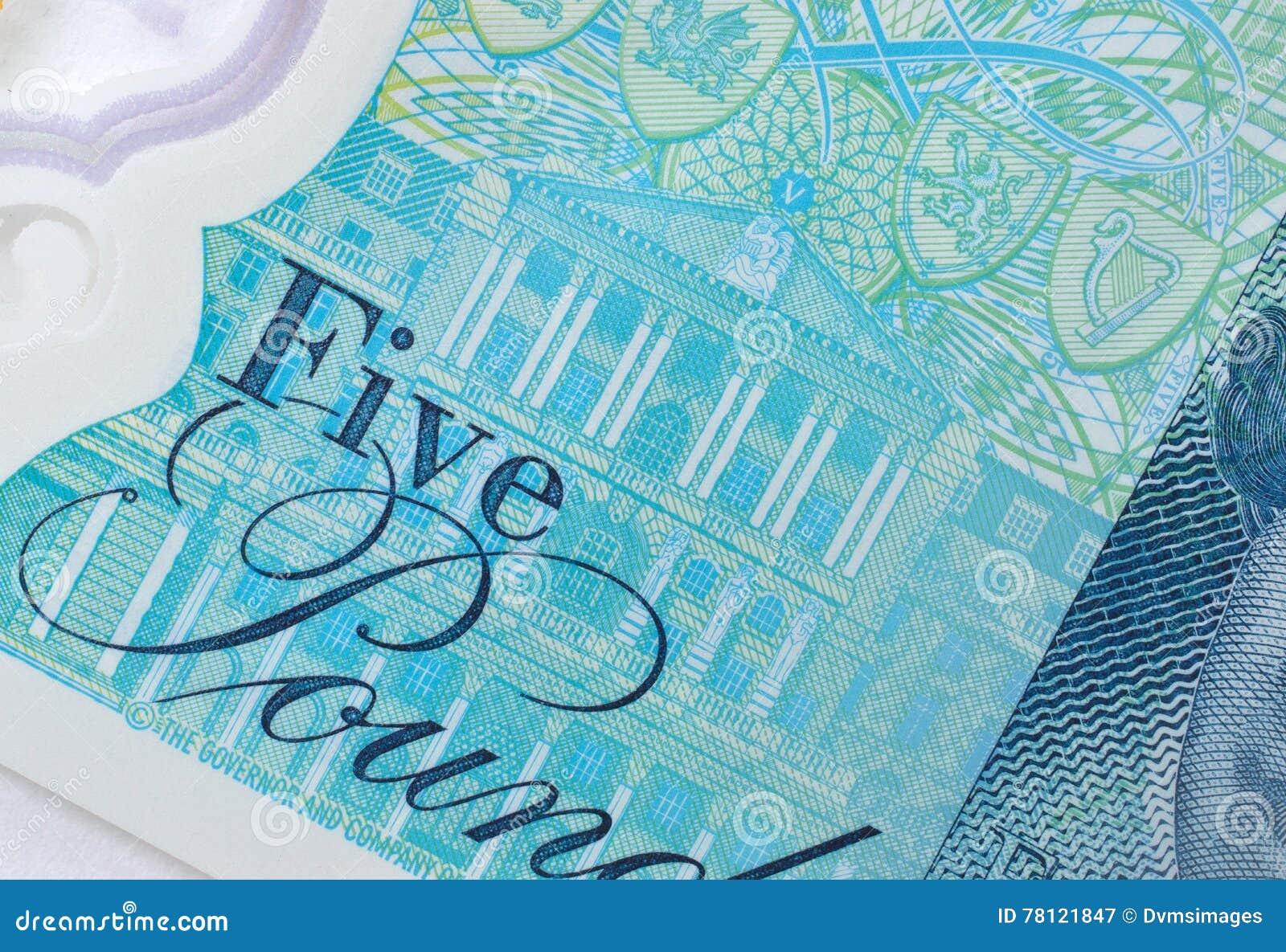 Banco de Inglaterra en nota de cinco libras