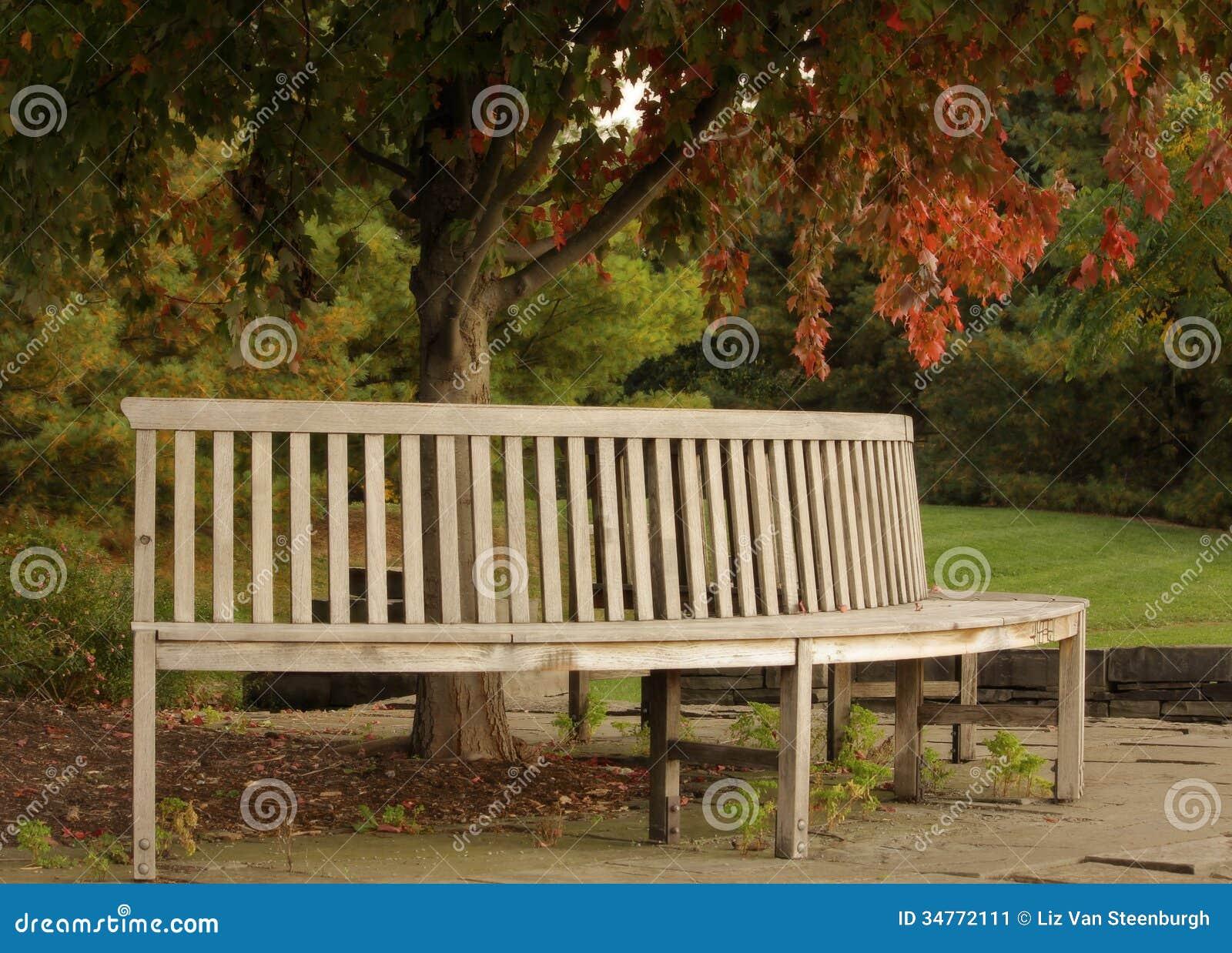 Um banco de parque de madeira circular com árvores do outono. #A94222 1300x1023