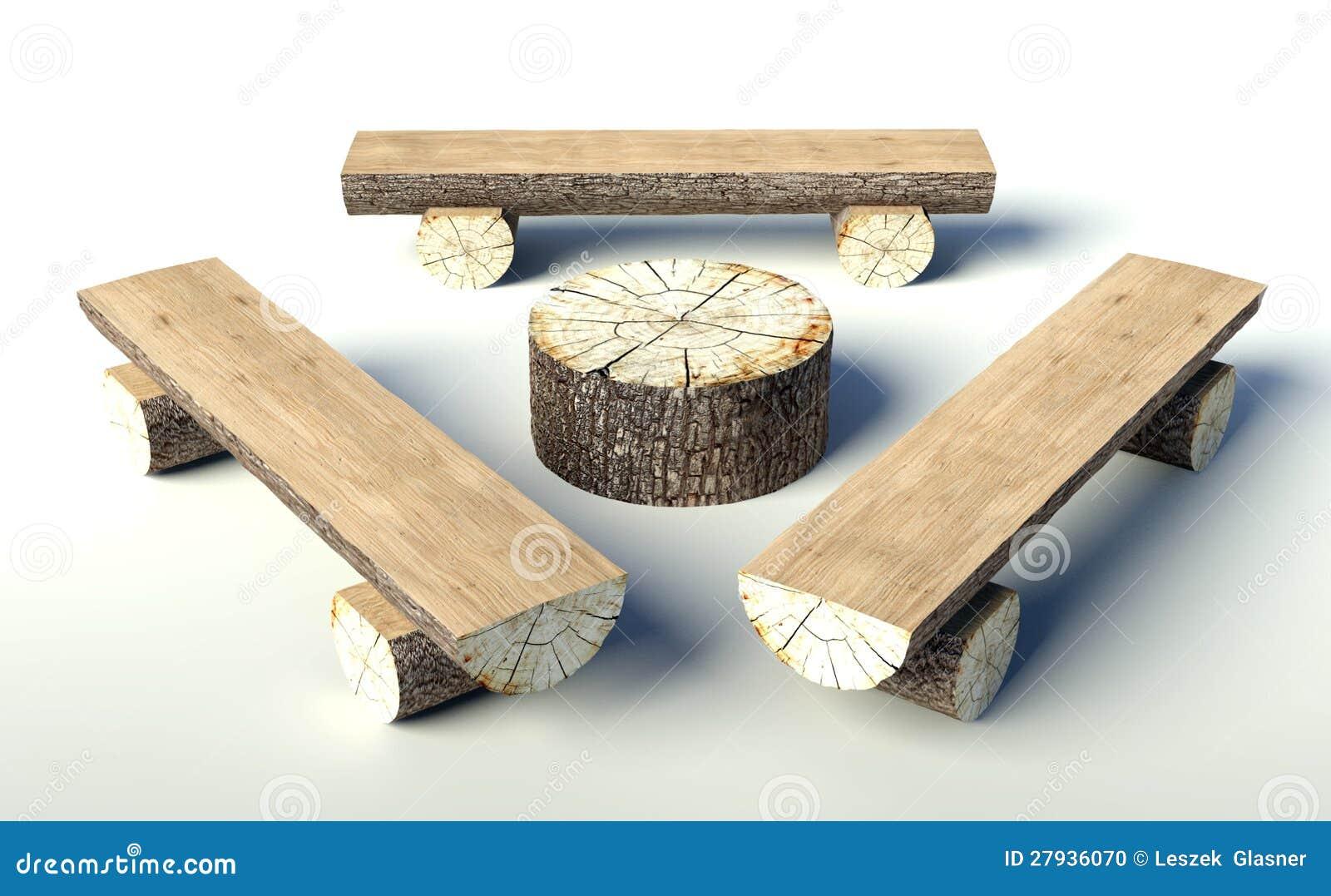 Banco De Madeira E Tabela Feitos De Troncos De árvore Foto de Stock  #967035 1300x892