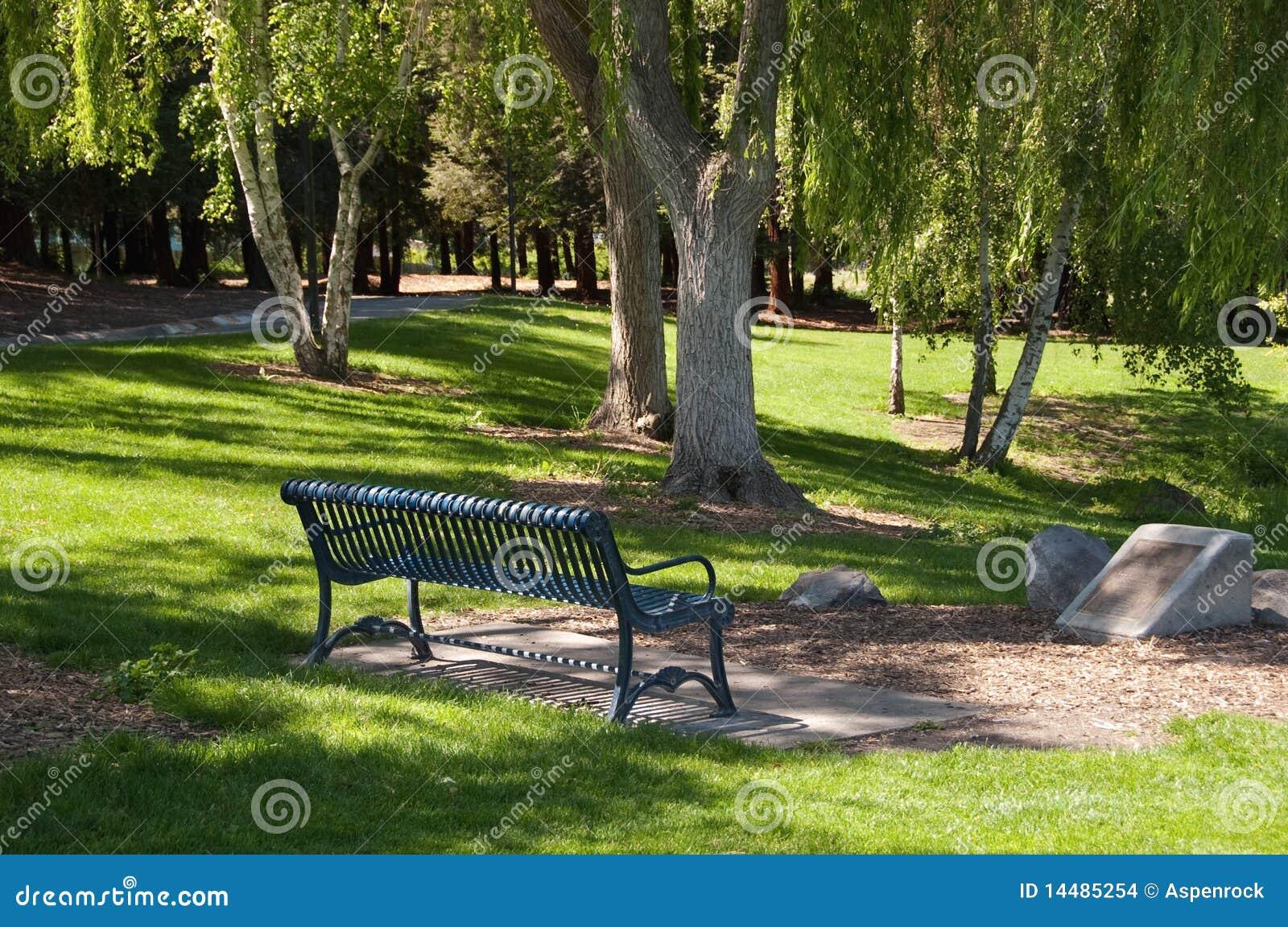 Banco de parque em uma tarde ensolarada