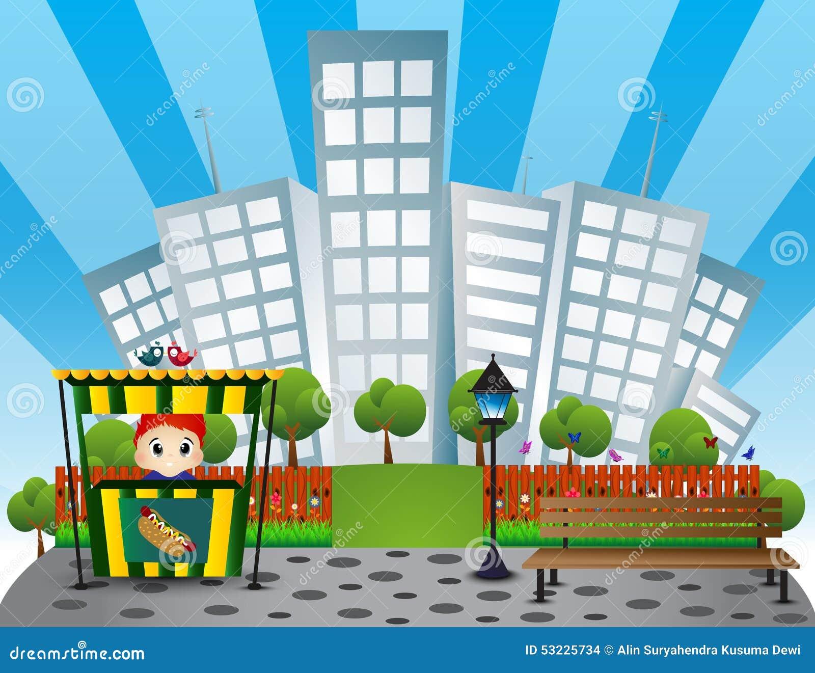 Banco de parque, vendedor del perrito caliente con el fondo del edificio de la ciudad en a todo color