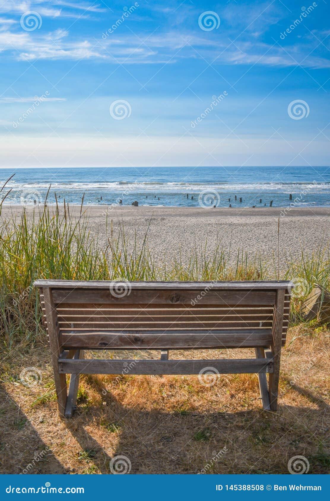Banco di legno sulla spiaggia