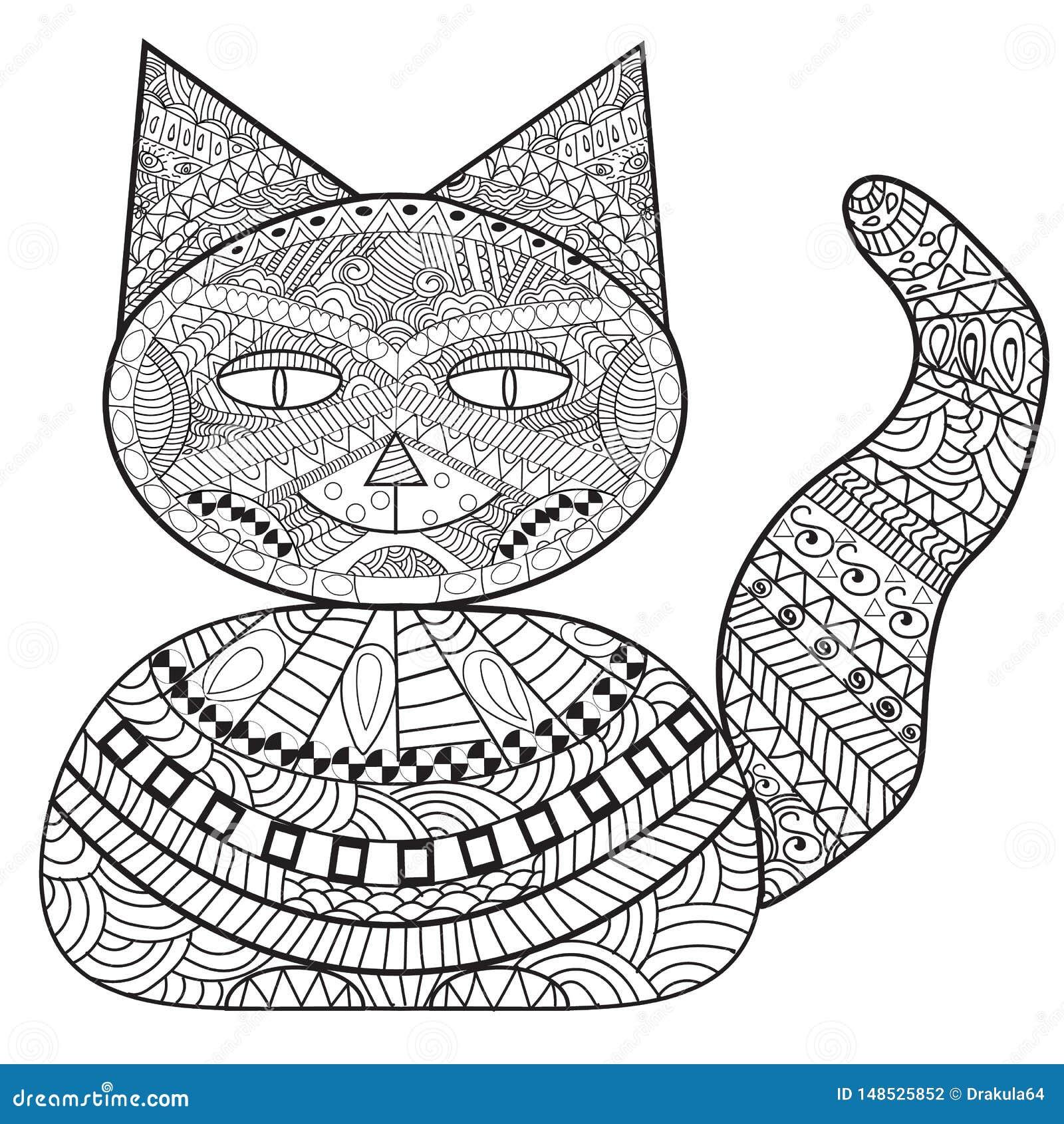 Banco do gato de Zentangle, gato da decoração, livro para colorir adulto, colorindo