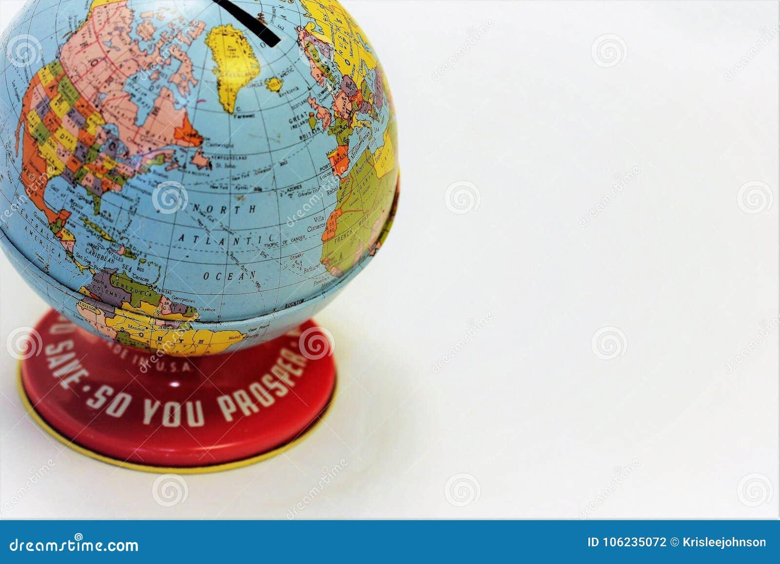 Banco do globo para salvar o piggybank do dinheiro ou das moedas