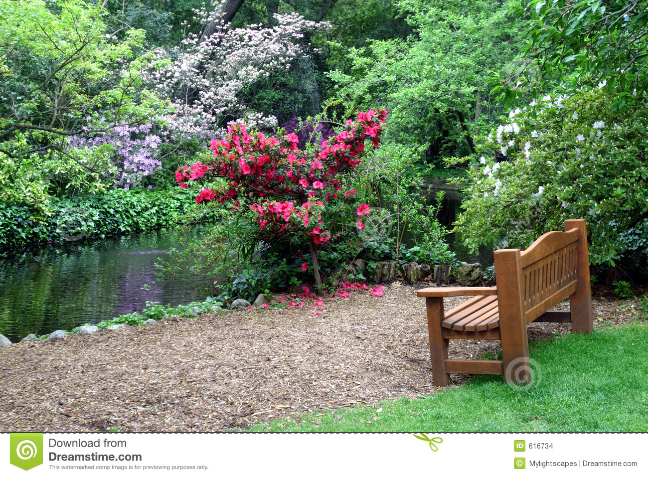 bancos de jardim no rs : bancos de jardim no rs:Spring Flowers Garden with Bench