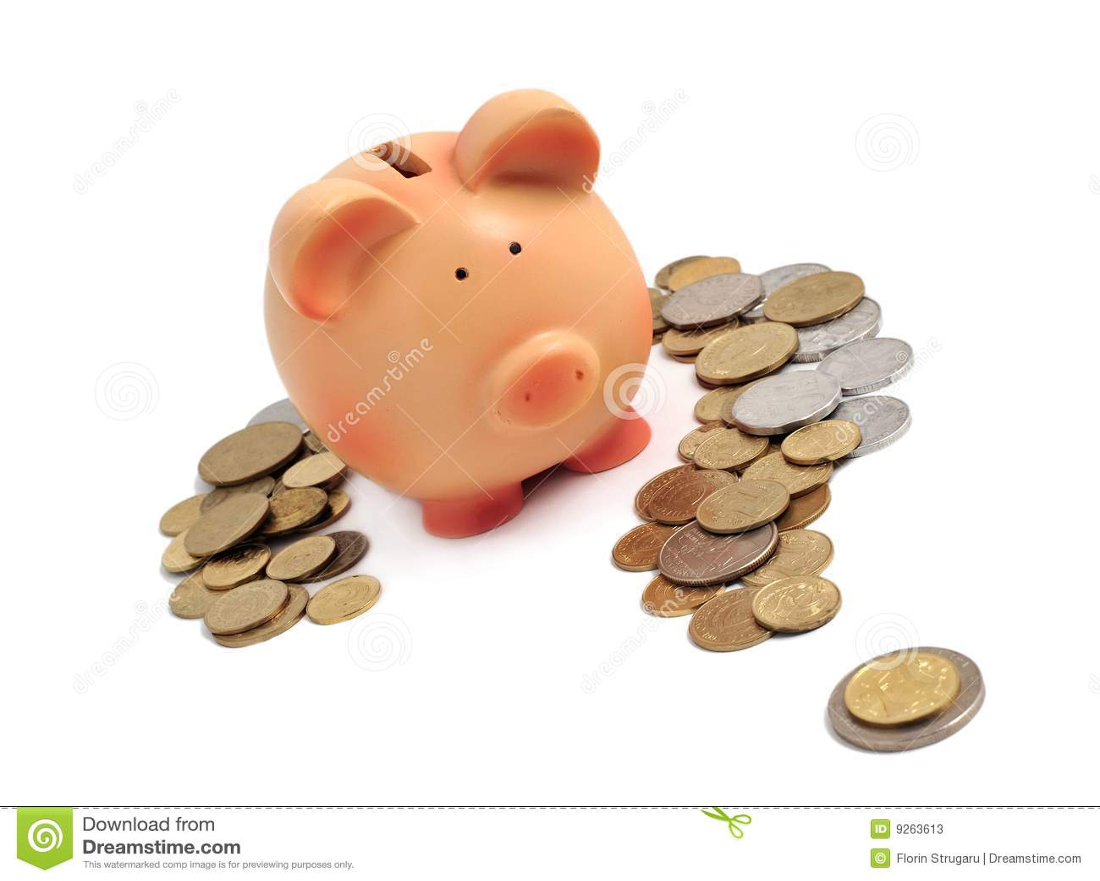 Banco Piggy cercado por moedas em um ponto de interrogação