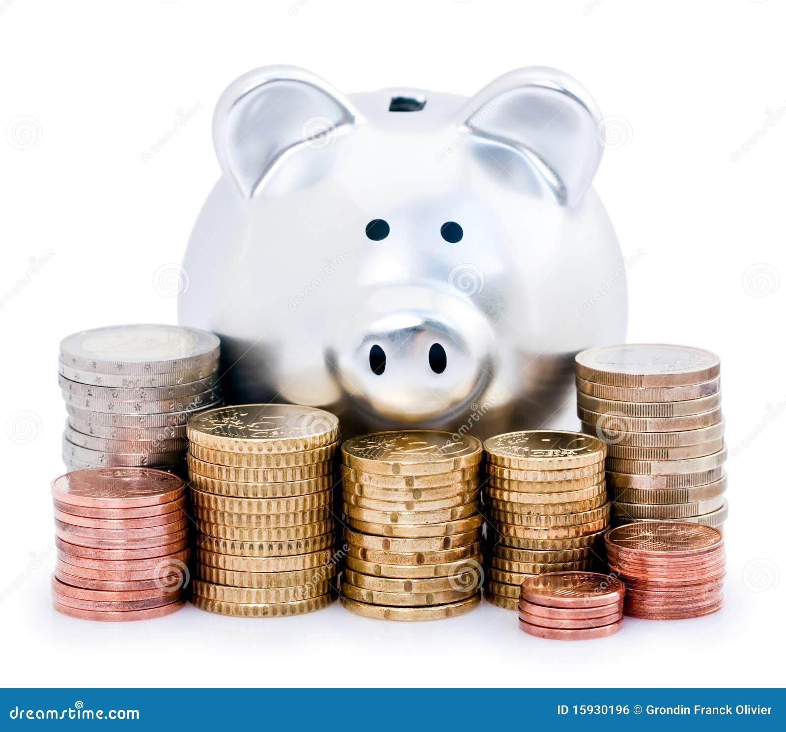 Banco Piggy e euro- moedas