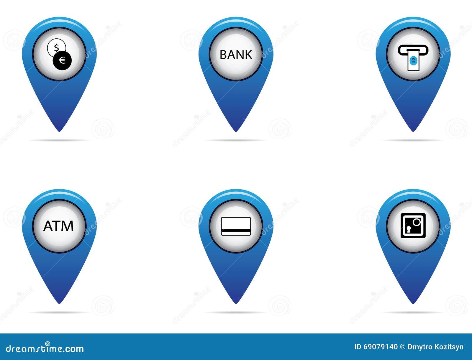 Banco y sistema de la etiqueta de las finanzas para el mapa