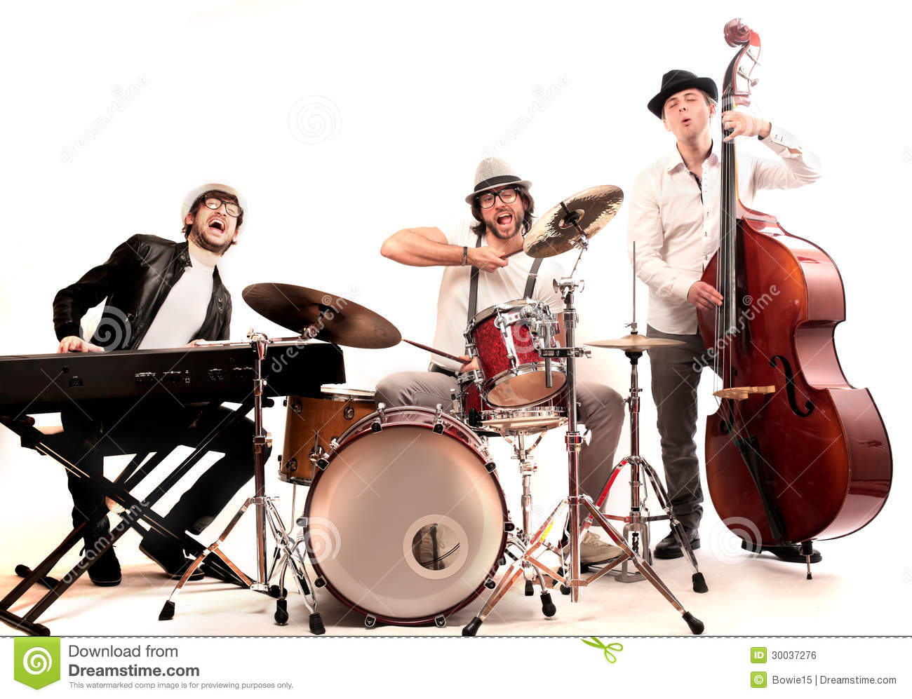 Band made up of men who playing double bass piano and drums
