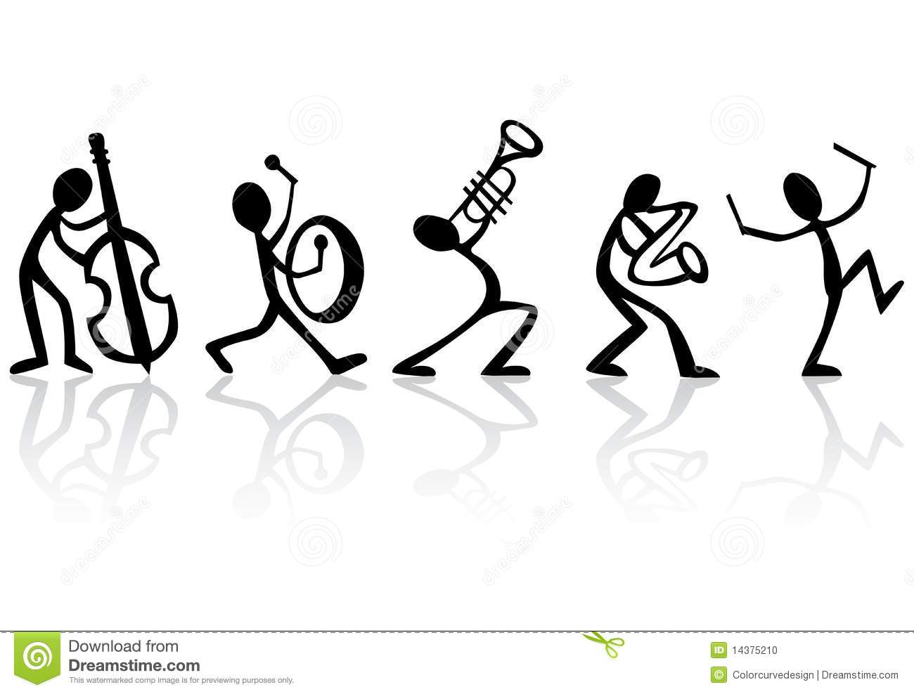 Band Musicians Playing Music Vector Illustration Stock Photo - Image ...