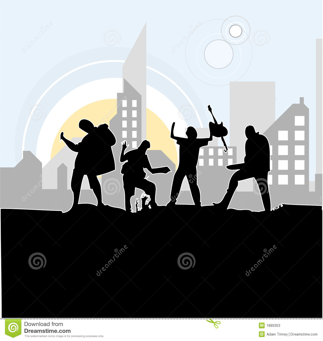 Band rocking out stock vector image of male friends