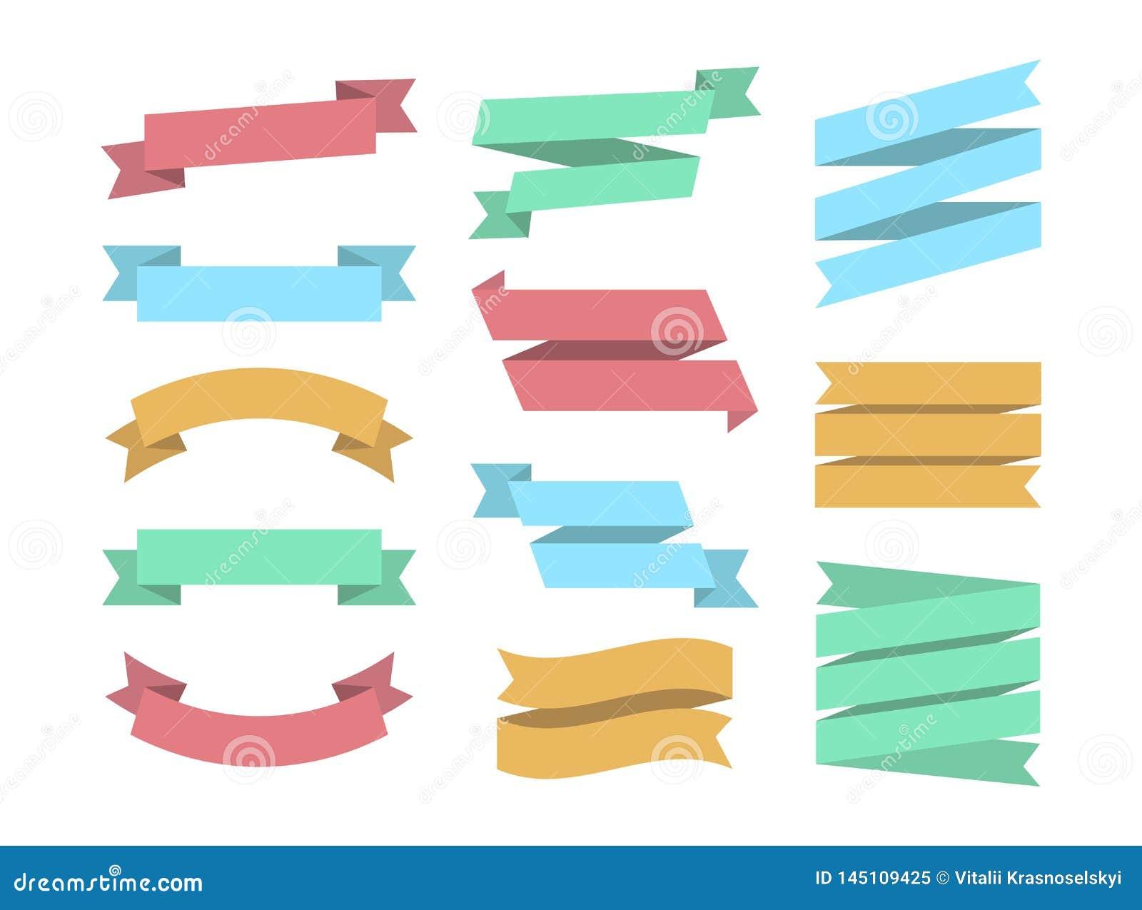 Band ställde in av 12 bunners Färgrik uppsättning Ribbin Grafisk beståndsdelsamling för plan design Vektorband och baner