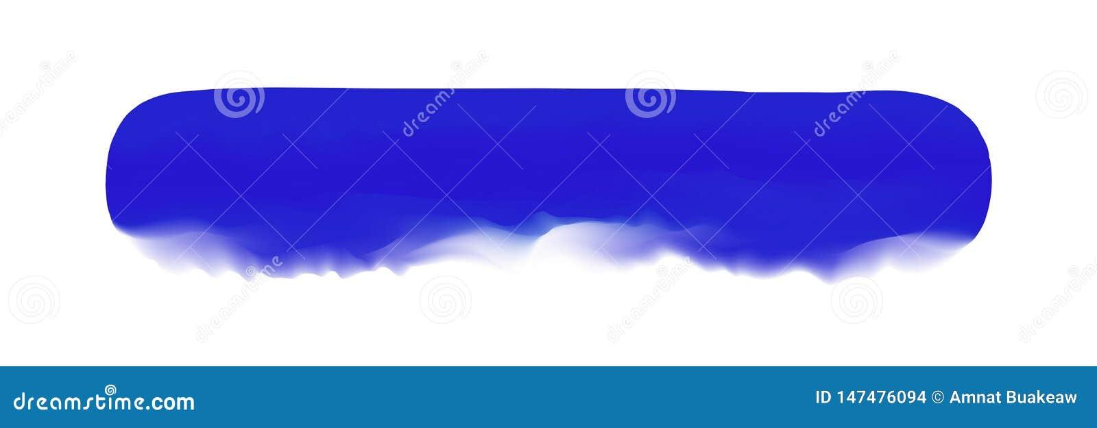 Banda blu dipinta in acquerello su fondo bianco pulito, colpi blu della spazzola dell acquerello, morbidezza digitale del pennell