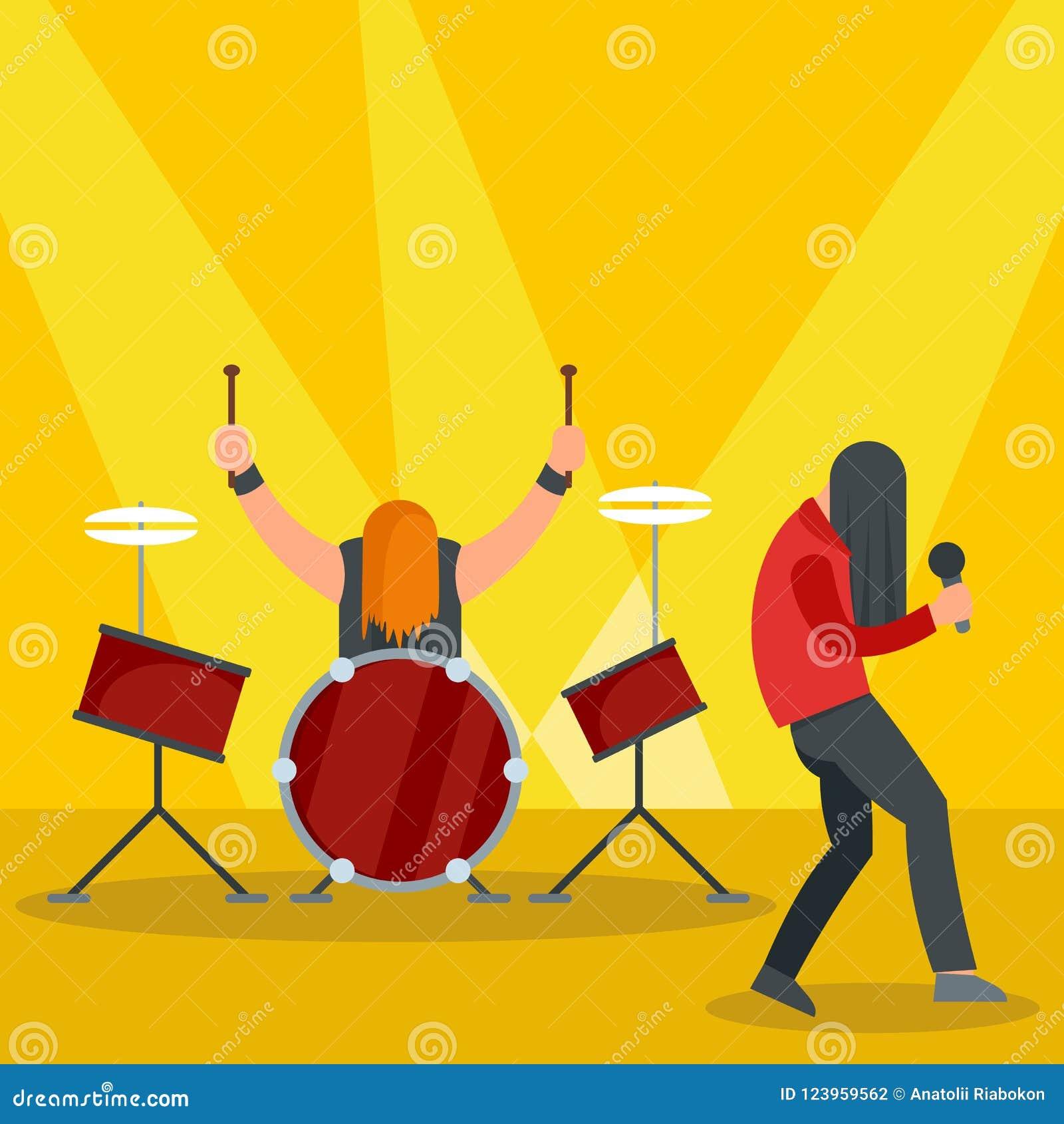 Banda de rock en el icono del concierto, estilo plano