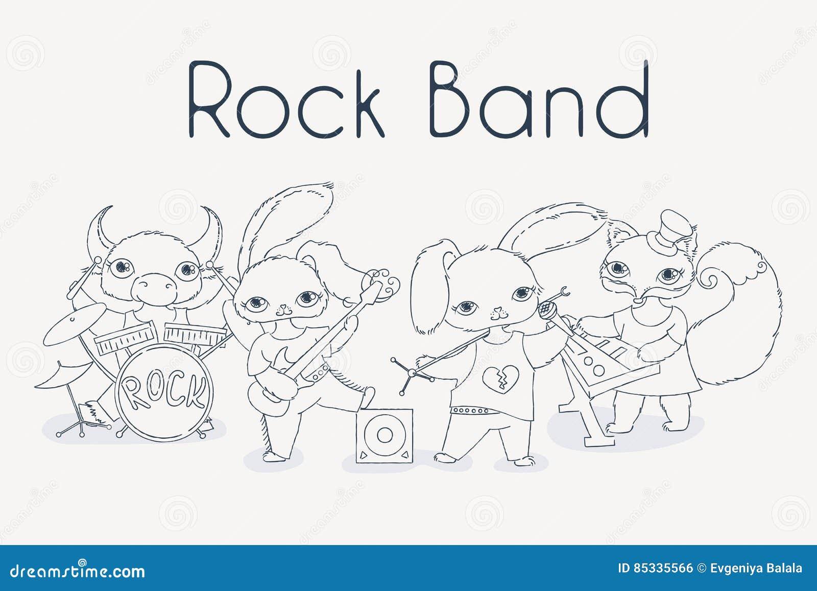 Banda De Rock Enrrollada De Los Animales Ejemplo Lindo De La Música ...