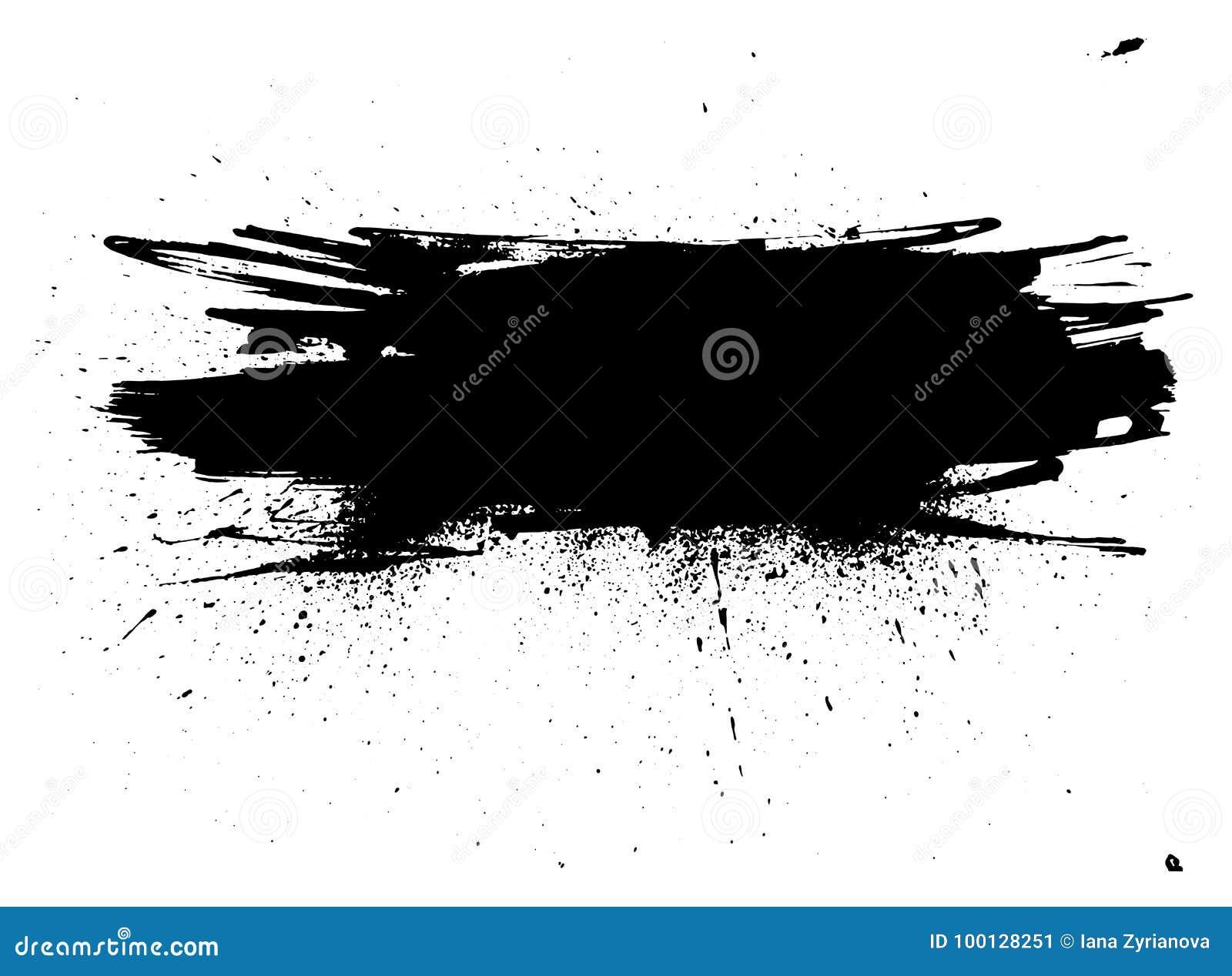 Banda della pittura di lerciume Colpo della spazzola di vettore Insegna afflitta Pennello isolato il nero