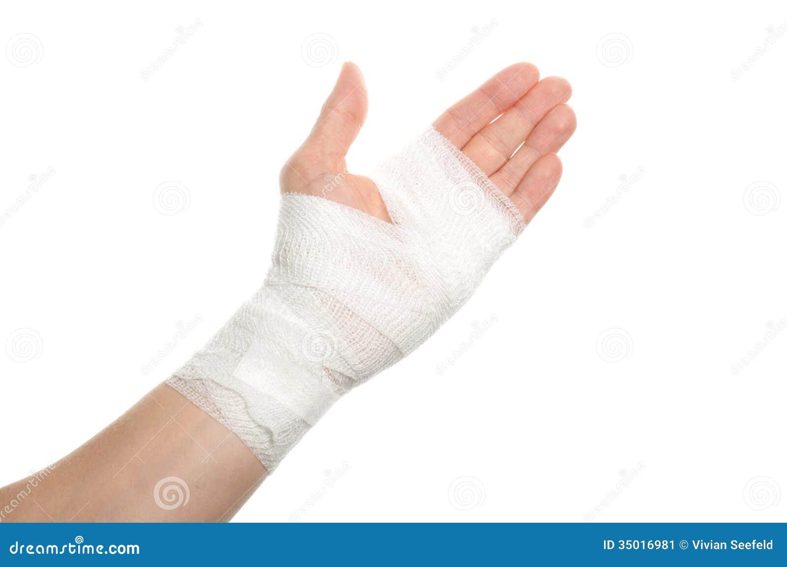 White medicine bandage on injury hand on white background.