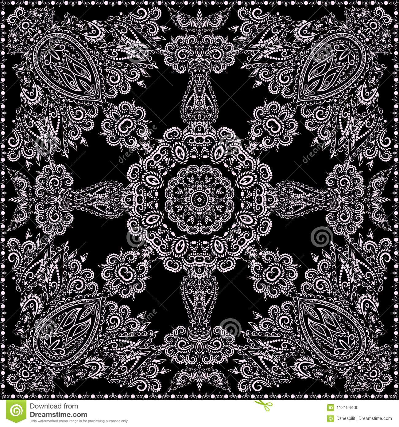 Bandana classy black and white vector print square
