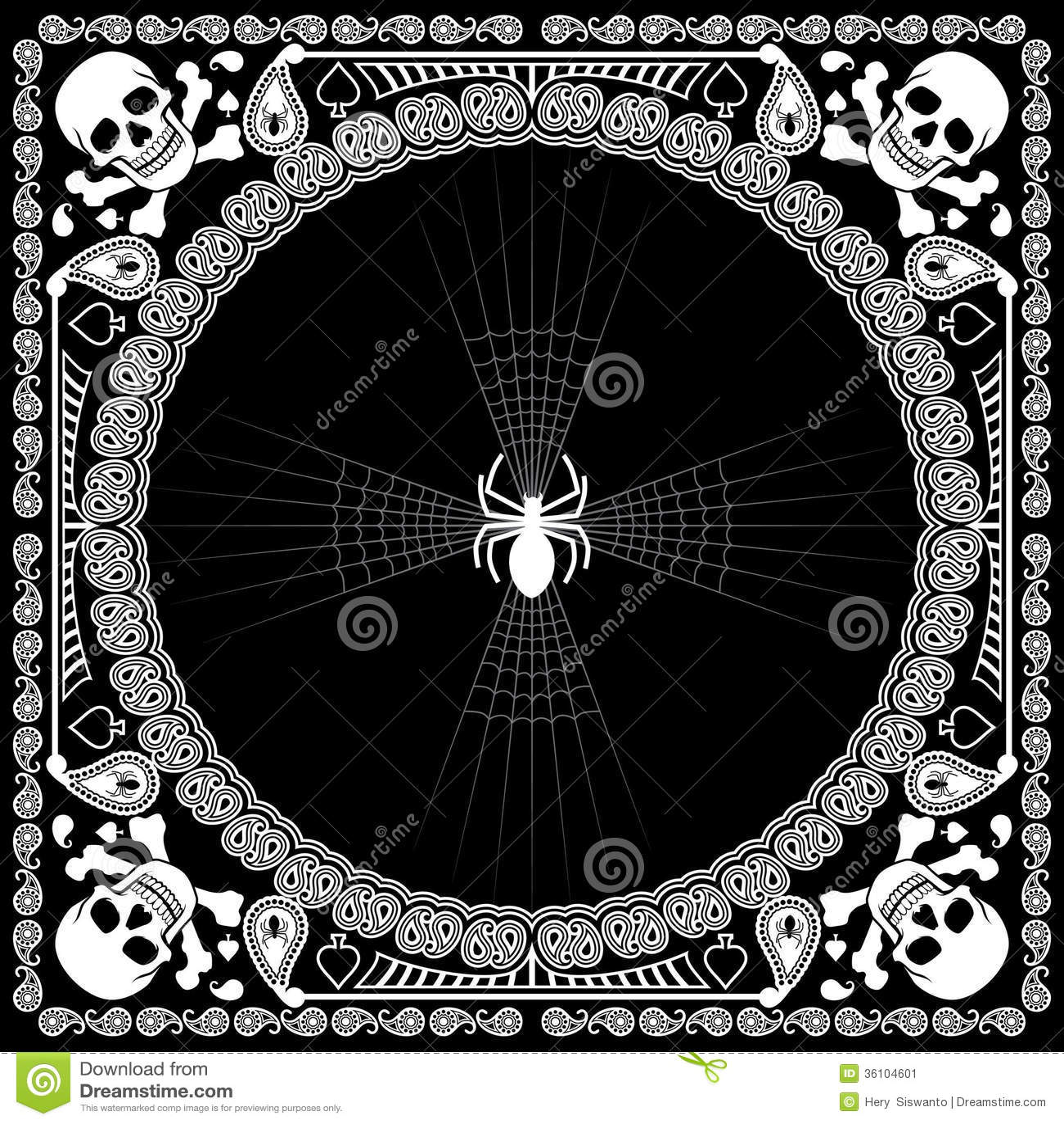 Bandana Pattern Skull And Spider Stock Vector Image