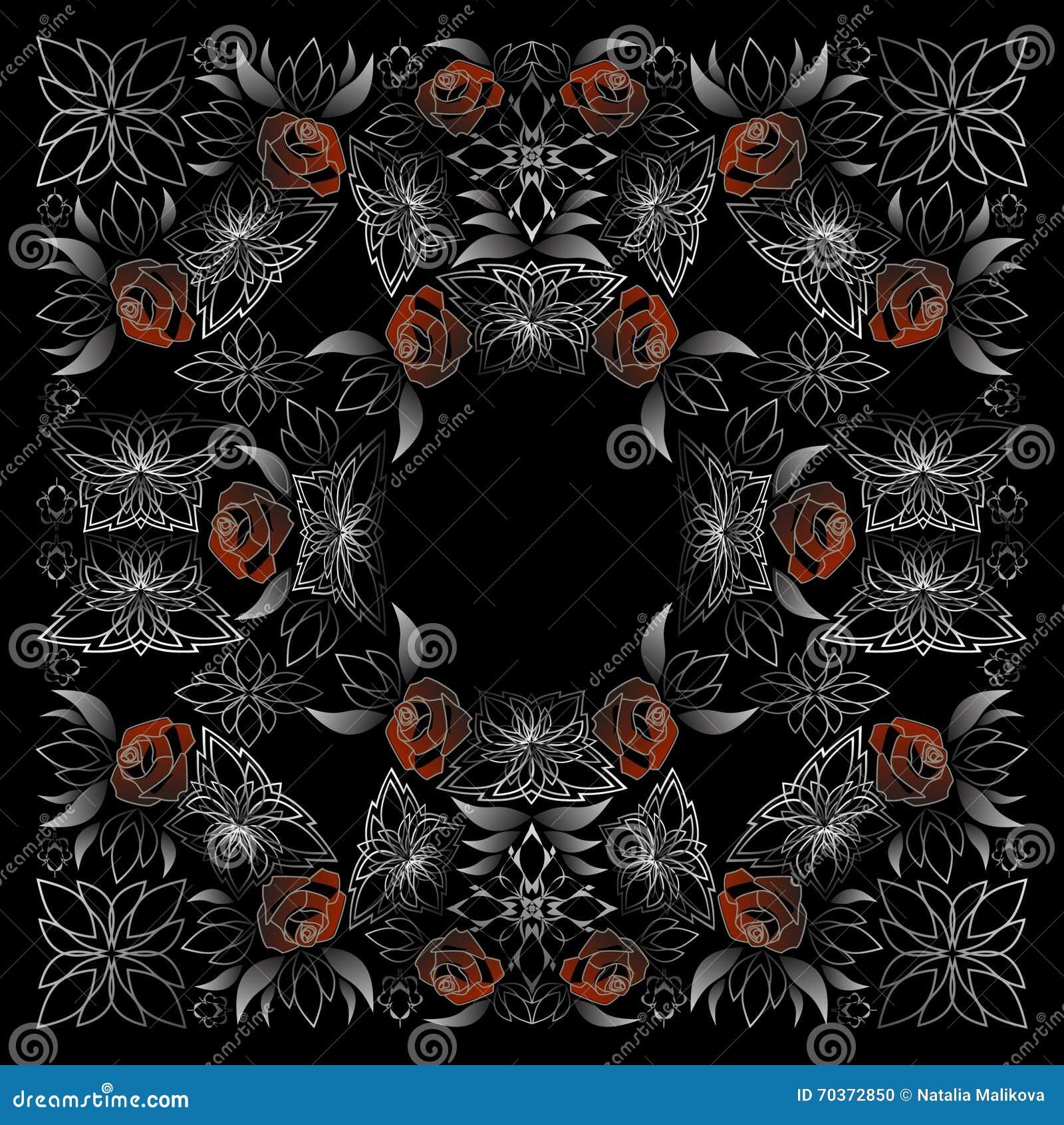bandana white and black pattern with roses stock illustration