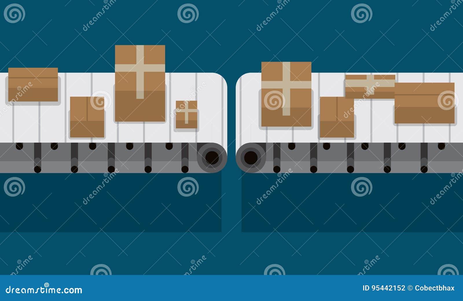 Bande de conveyeur automatisée à l illustration de vecteur d usine