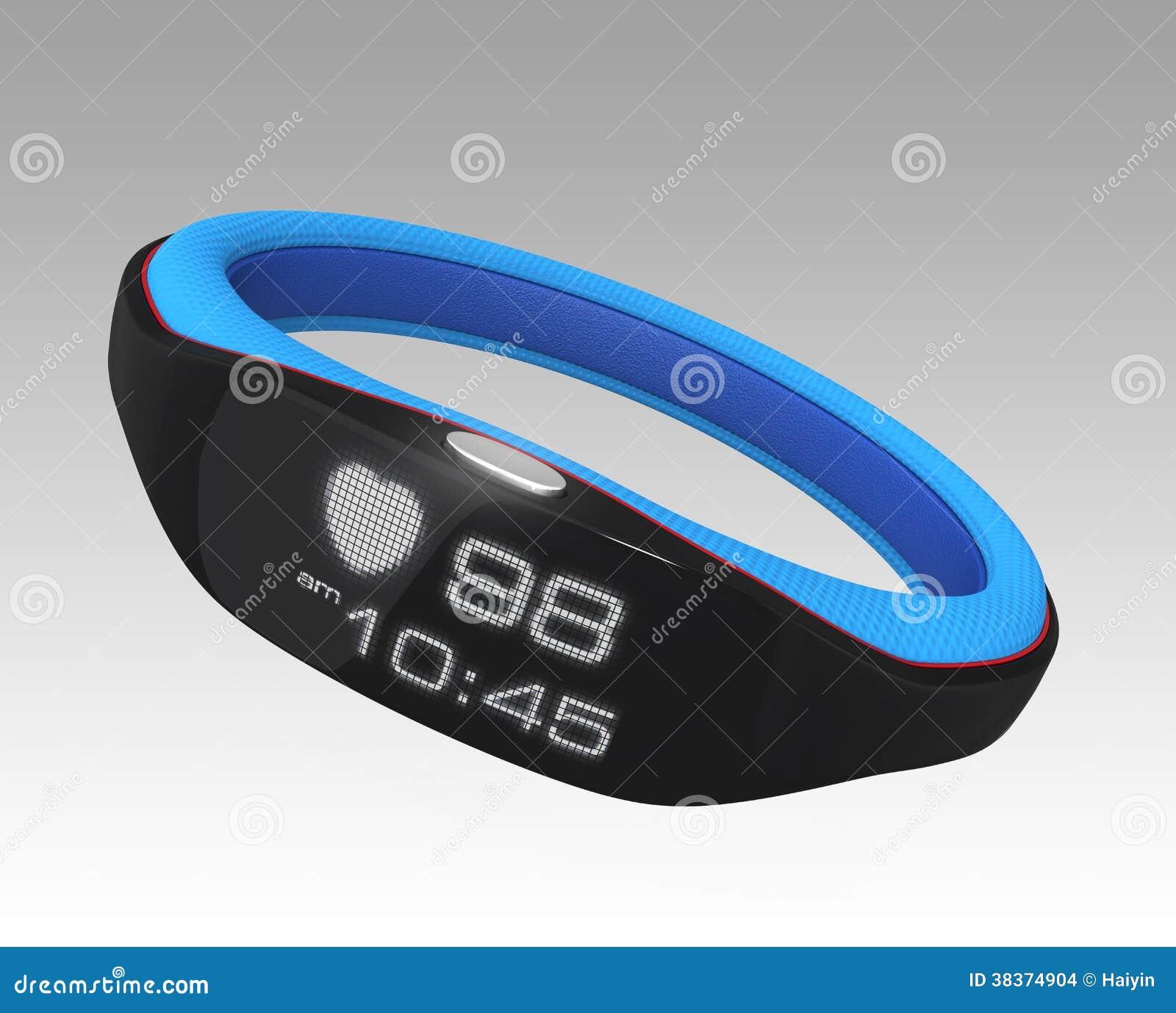 Bande de poignet futée montrant la fréquence cardiaque et le temps