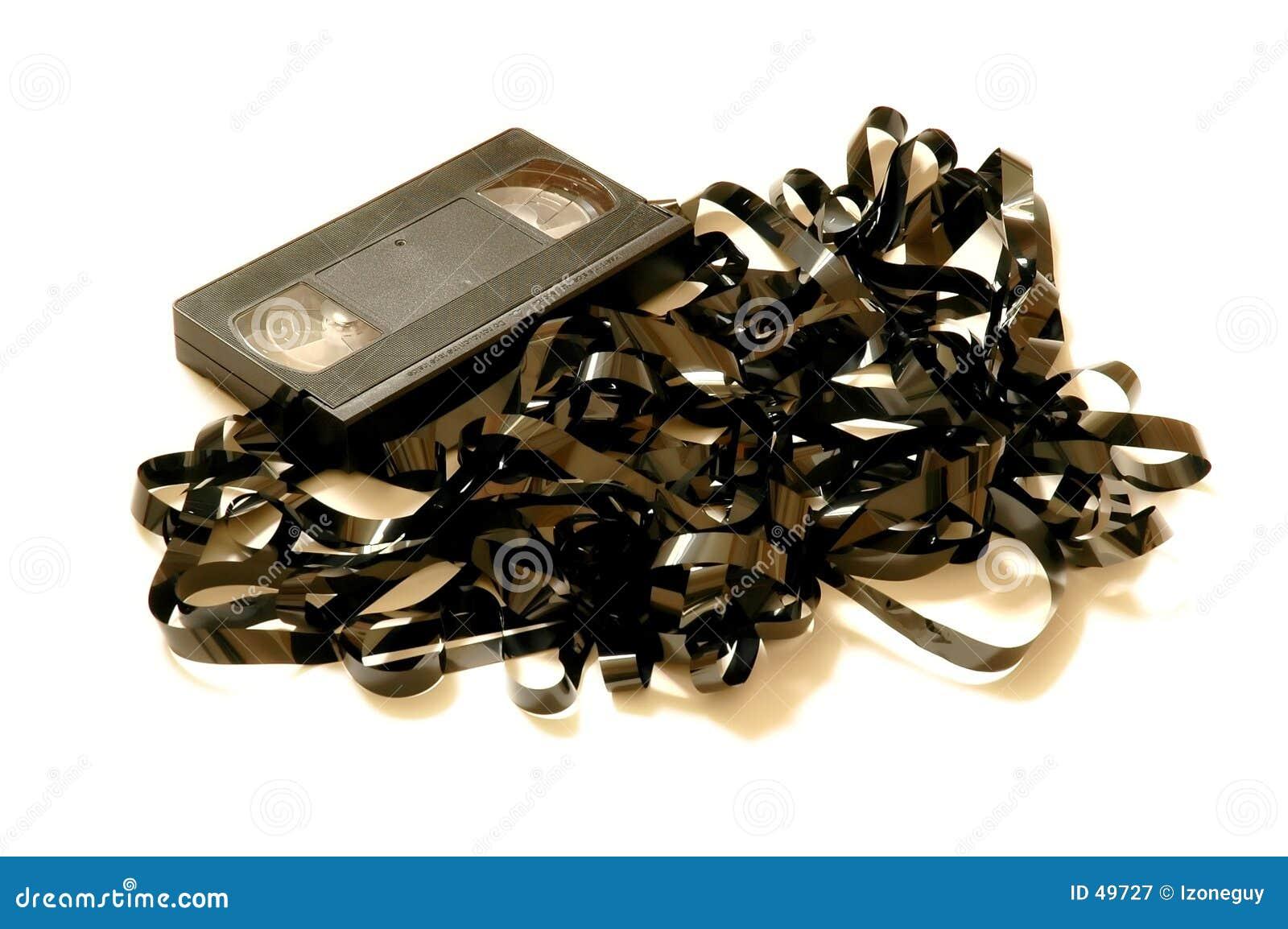 Bande de VHS déroulée - complètement