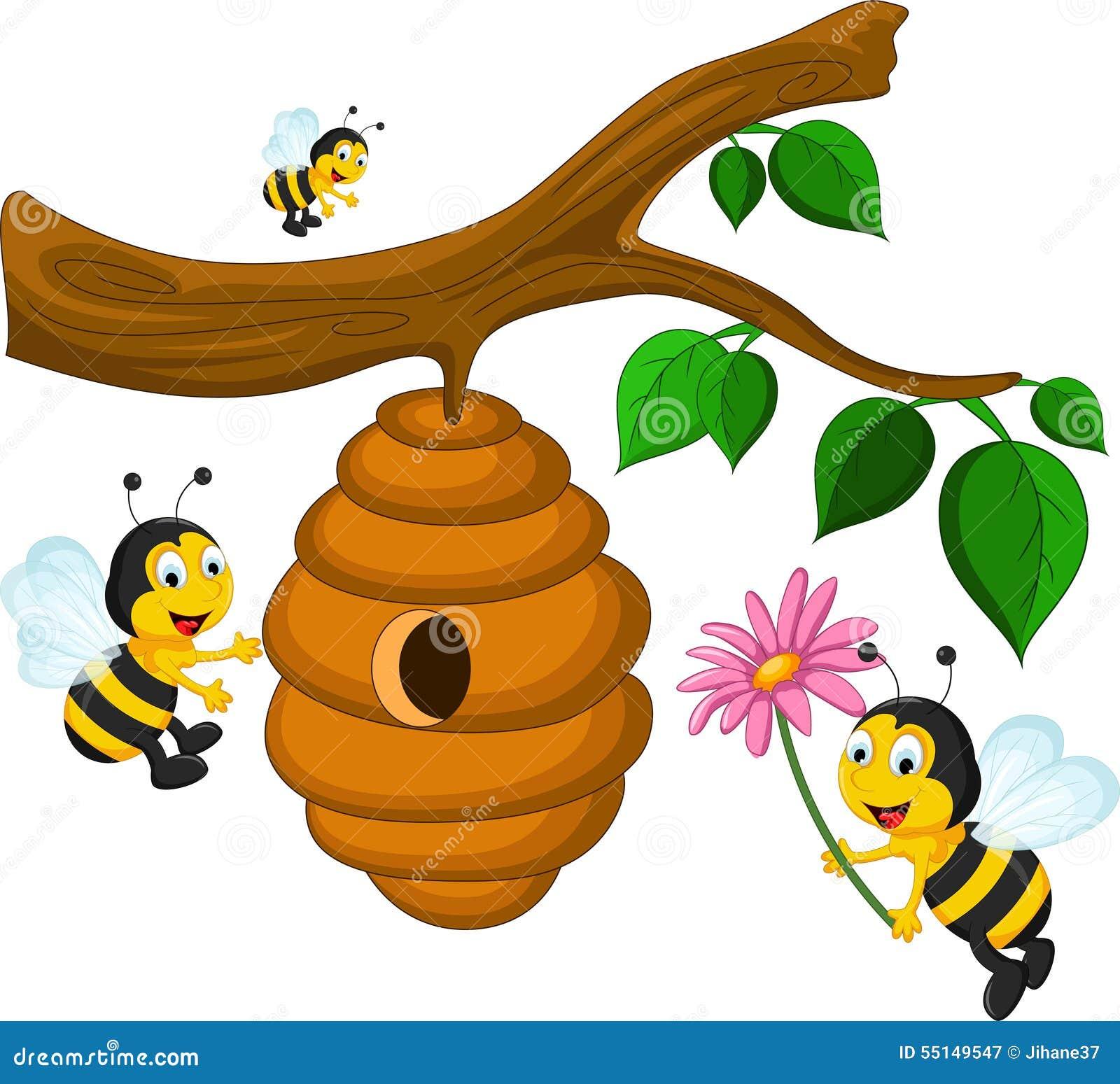 Bien-aimé Bande Dessinée D'abeilles Tenant La Fleur Et Une Ruche  LX49