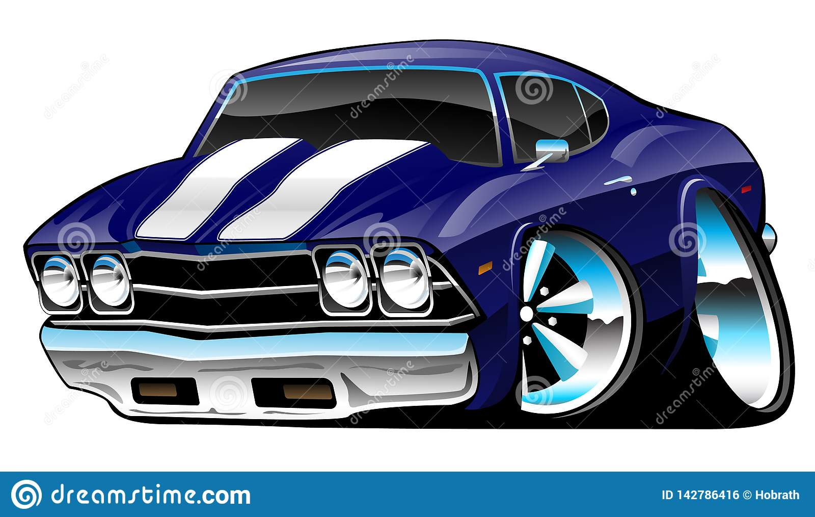 Bande dessinée américaine classique de voiture de muscle, bleu de cobalt profond, illustration de vecteur