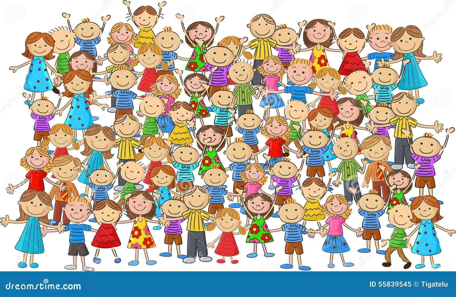 Bande dessin e d 39 enfants de foule illustration de vecteur illustration du gentil lignes 55839545 - Dessin groupe d enfants ...