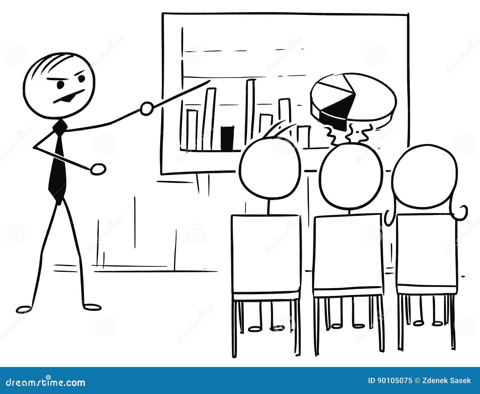 Bande dessinée d homme de bâton de vecteur du patron ou du professeur Presenting Graphs à