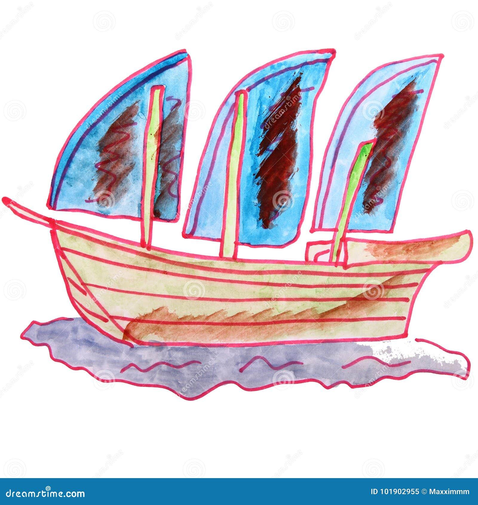 Bande Dessinee De Dessin Un Voilier D Aquarelle D Enfants Sur Un Backgr Blanc Illustration Stock Illustration Du Voilier Aquarelle 101902955