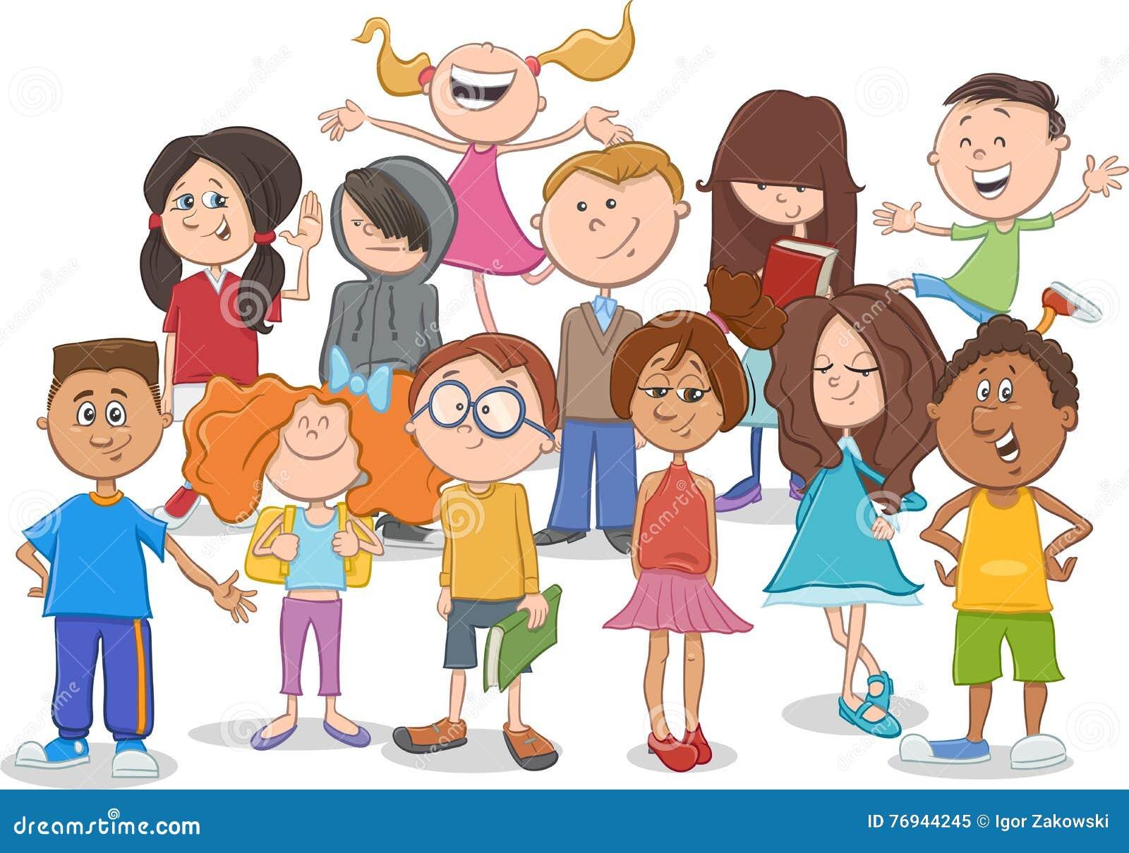 Bande dessin e de groupe d 39 enfants ou d 39 ados illustration de vecteur illustration du dr le - Dessin groupe d enfants ...