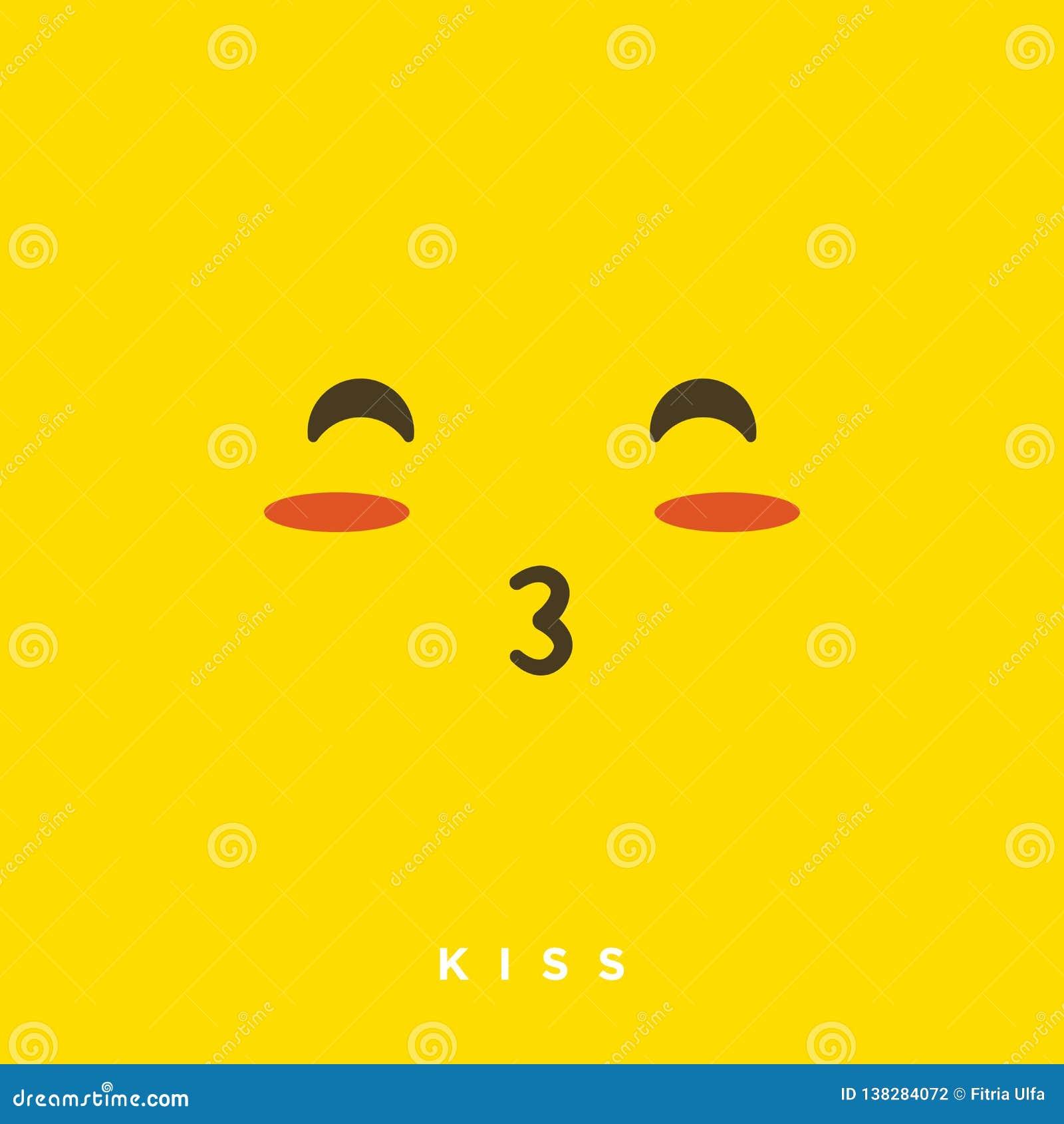 Bande dessinée de haute qualité de vecteur avec les émoticônes de baiser de bouche avec le style plat de conception, réactions so