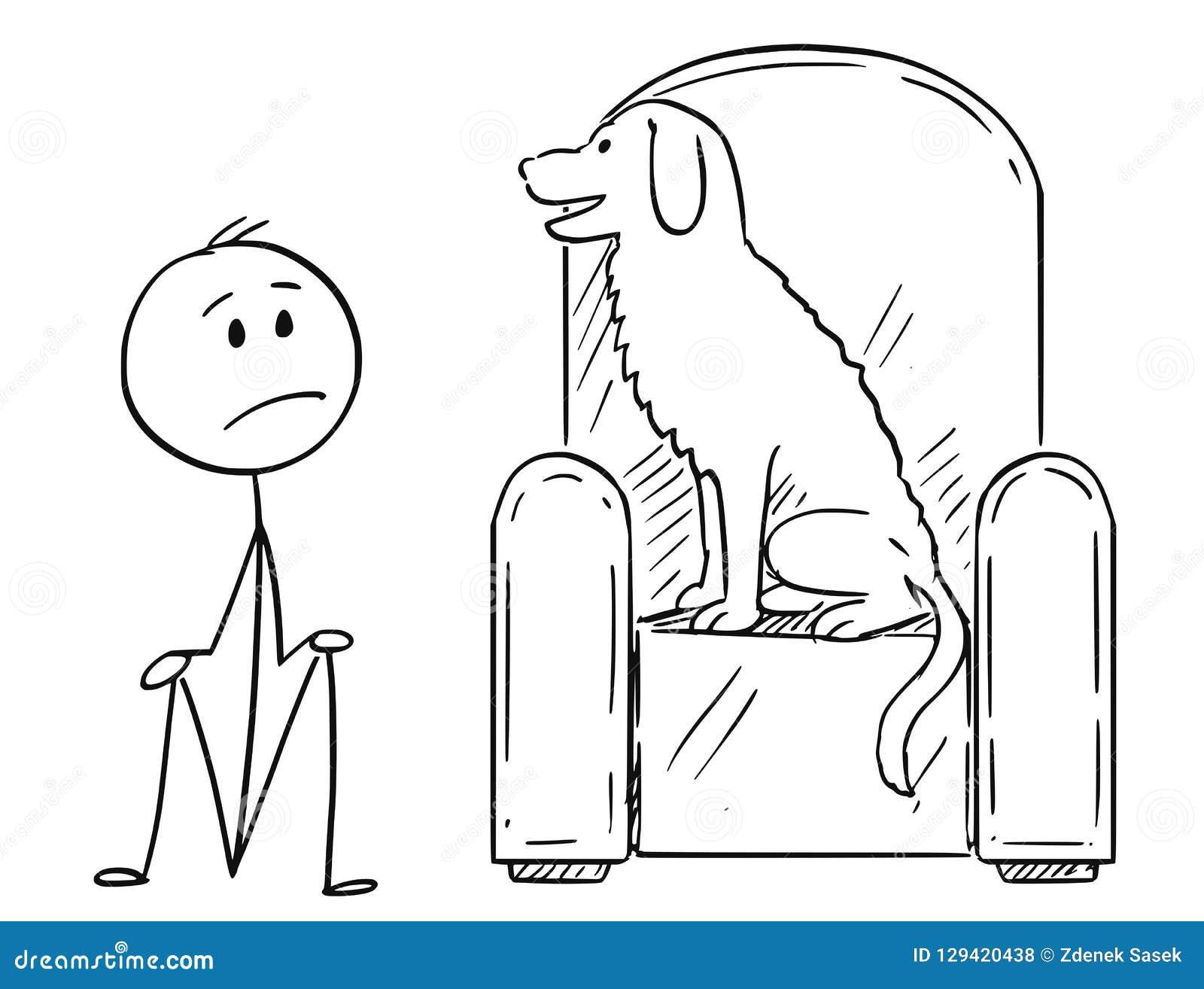 Bande dessinée de l homme se reposant sur la terre puisqu un chien occupe le fauteuil