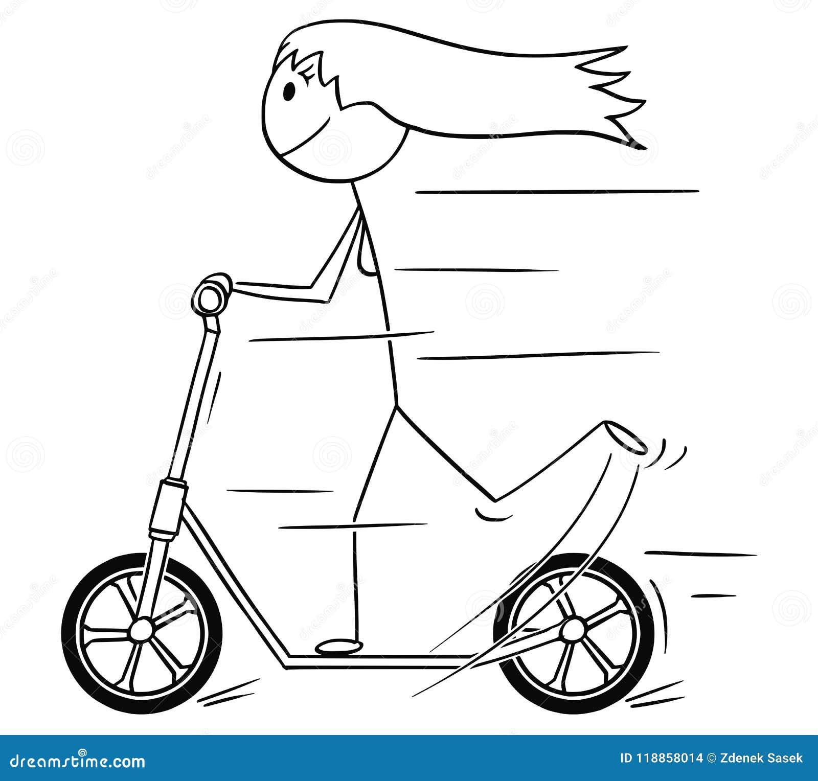 Bande Dessinée De La Femme Ou De La Fille Montant Le Scooter