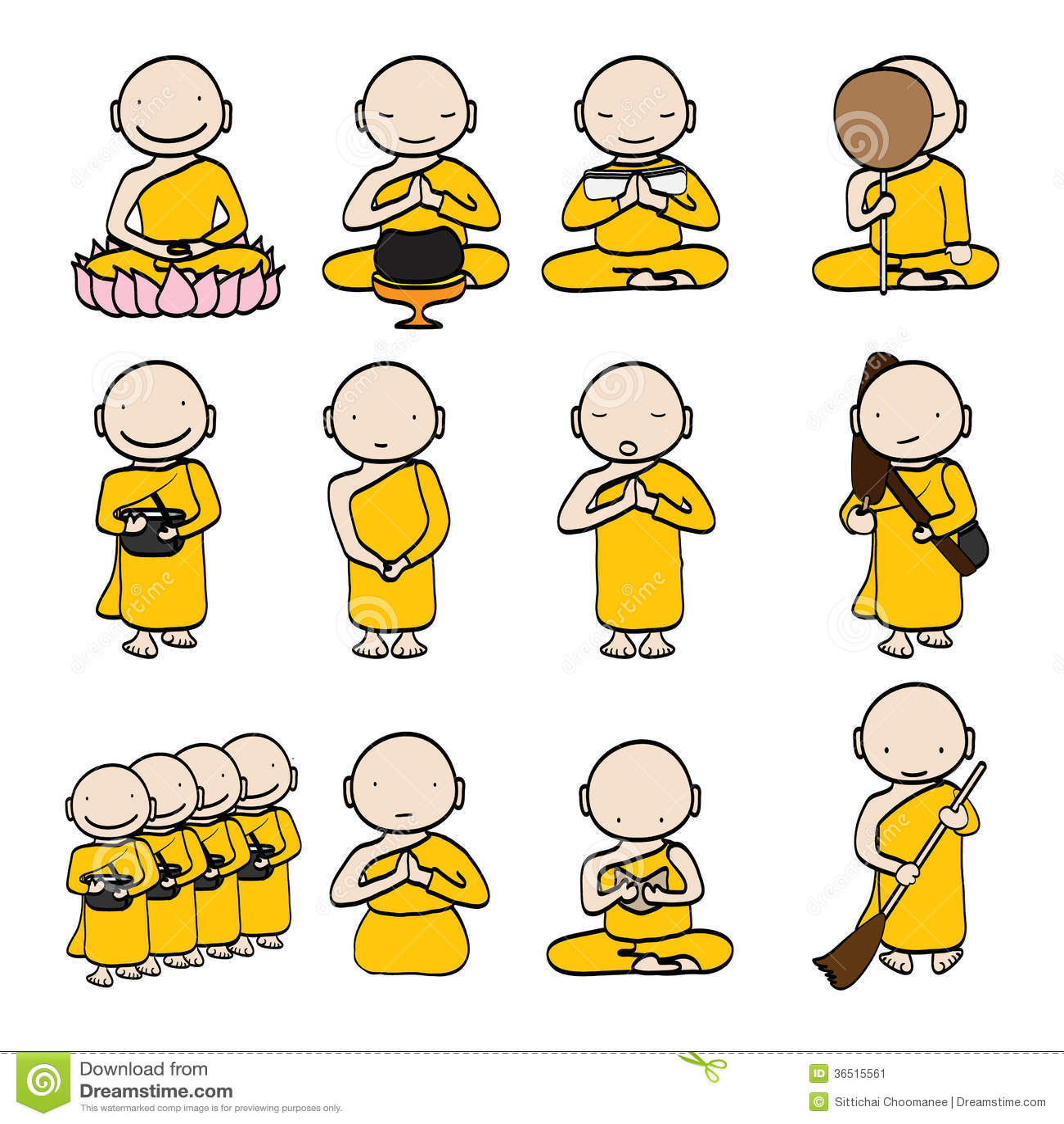 Bande dessinée de moine bouddhiste
