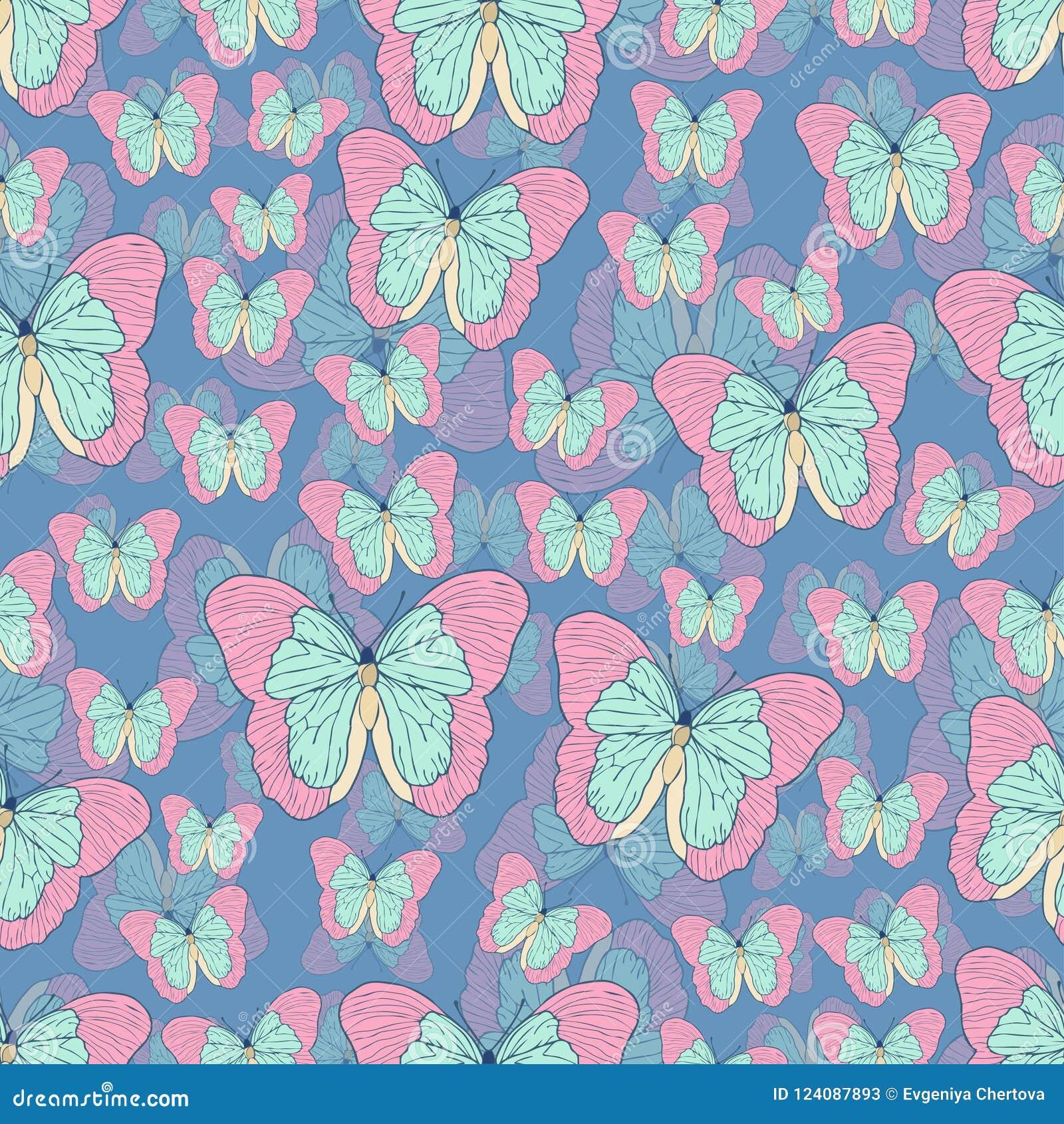 Bande dessinée de papillon dessinant le modèle sans couture, fond de vecteur L insecte dessiné par abstraction avec la turquoise