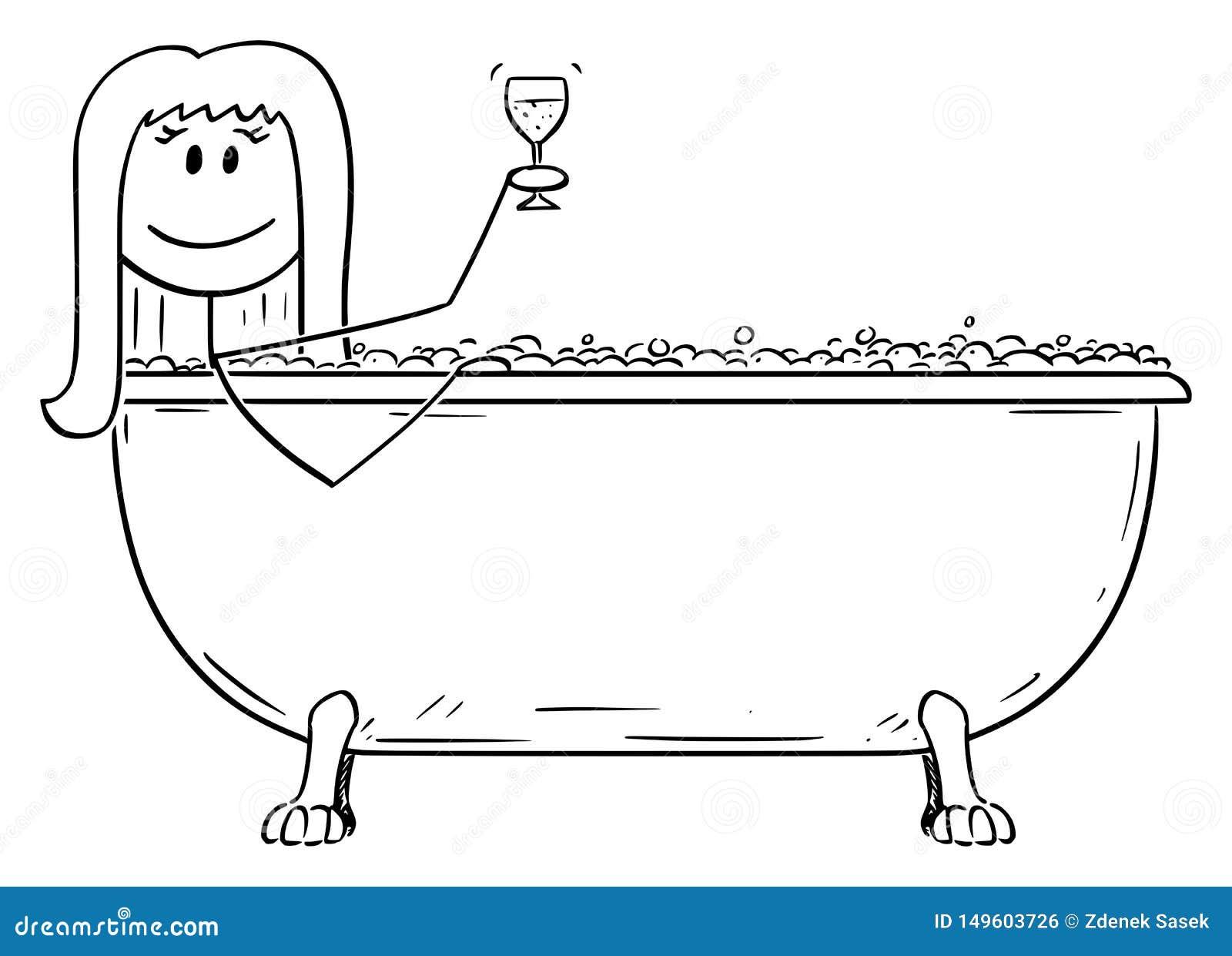 Bande dessin?e de vecteur de femme d?tendant dans le baquet en lots avec le verre de vin