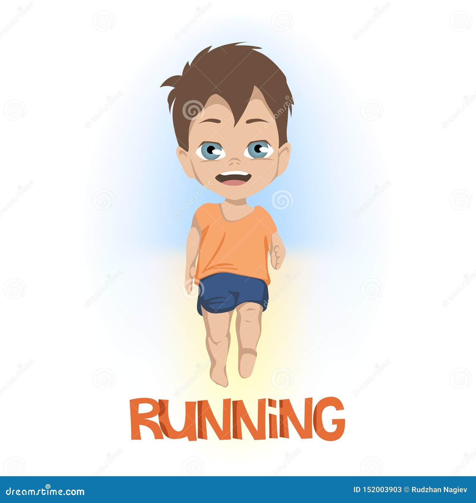 Bande dessinée de vue de face sur peu de garçon en bref et tee-shirt fonctionnant au-dessus du FONCTIONNEMENT en texte orange au-