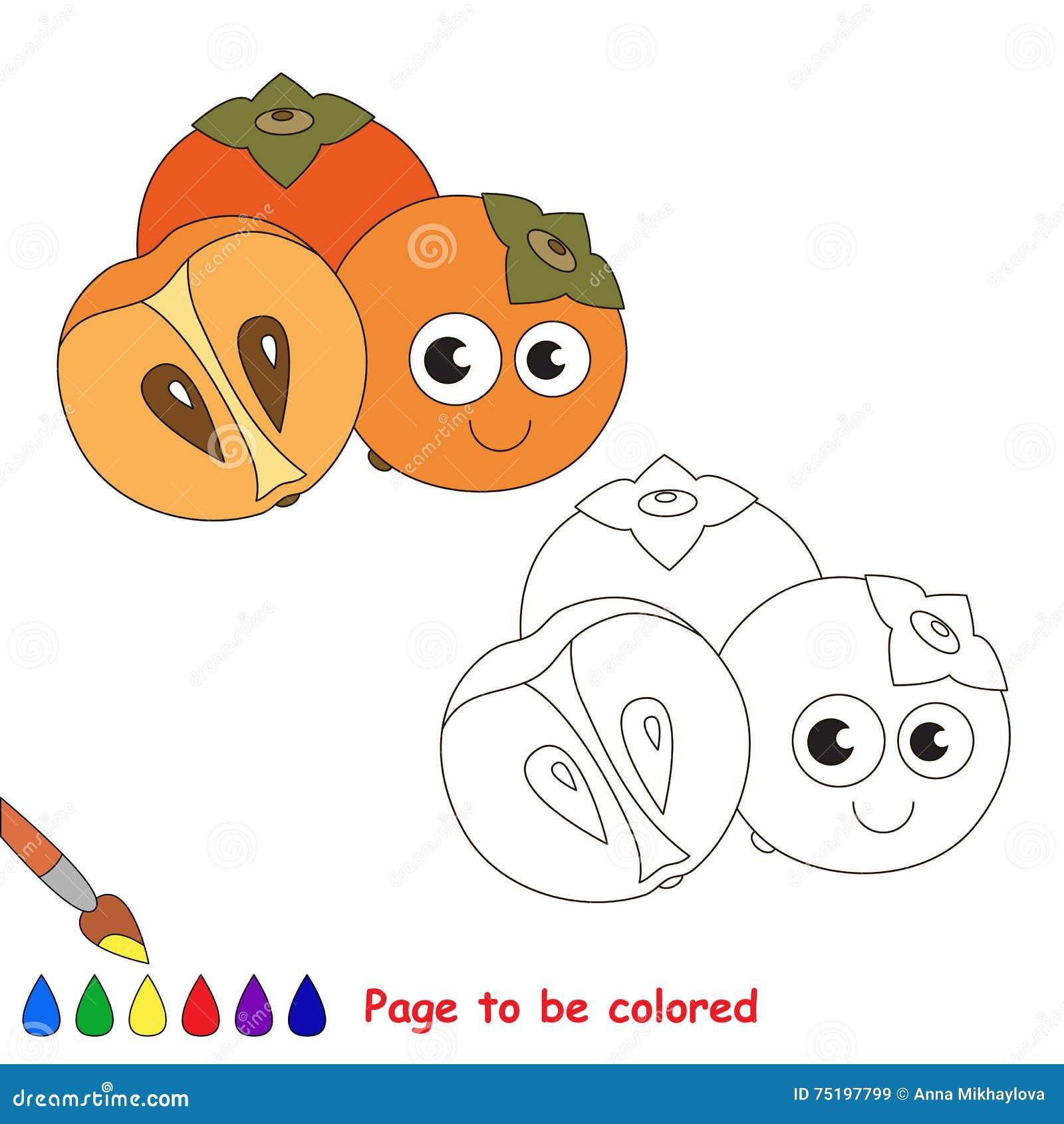 Coloriage Fruit Kaki.Bande Dessinee Douce De Kaki Page A Colorer Illustration De Vecteur